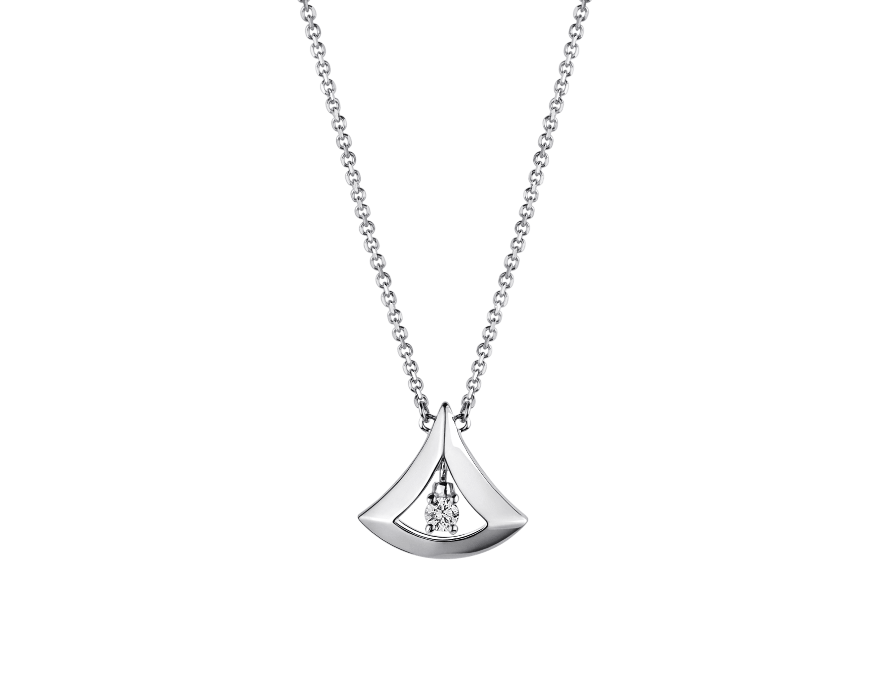 DIVAS' DREAM openwork necklace in 18 kt white gold with 18 kt white gold pendant set with a central diamond (0.10 ct). 354048 image 1