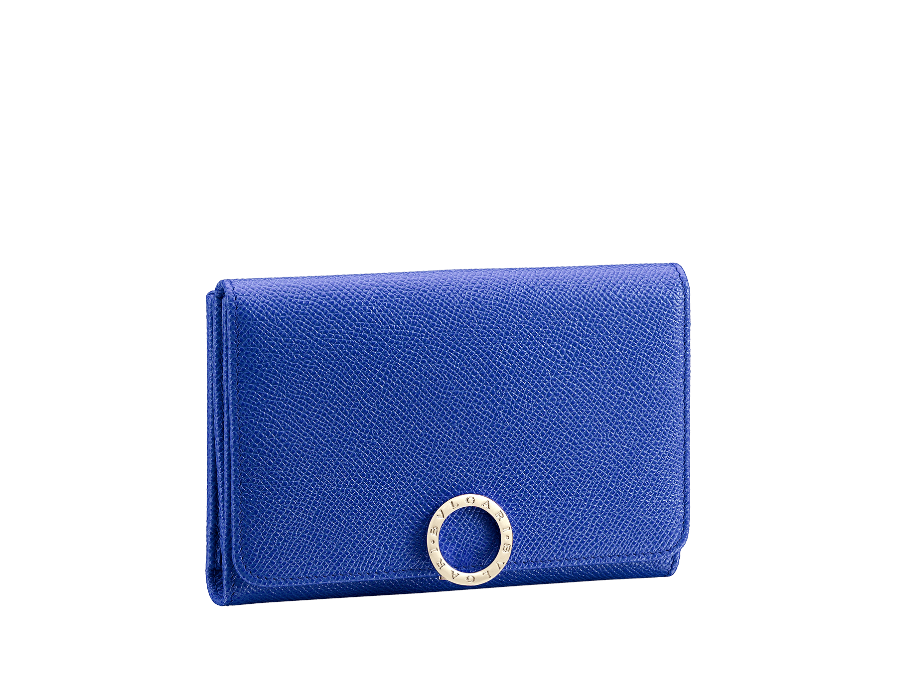 BVLGARI BVLGARI compact pochette in cobalt tourmaline grain calf leather and aster amethyst nappa leather. Iconic logo closure clip in light gold plated brass 287604 image 1