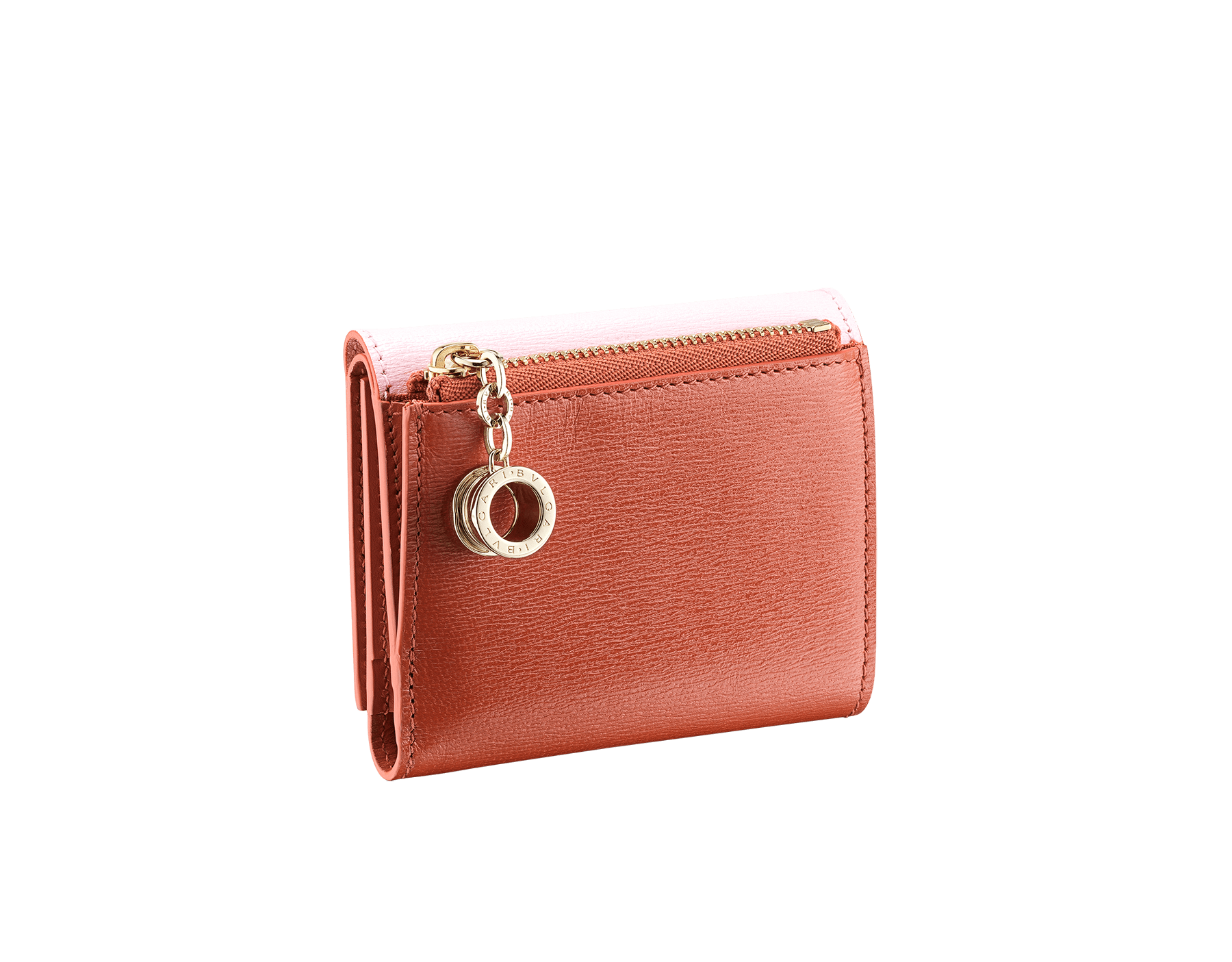 B.zero1 compact wallet in rosa di francia and imperial topaz goatskin. Iconic B.zero1 zip in light gold plated brass and two press stud closures. 289085 image 3