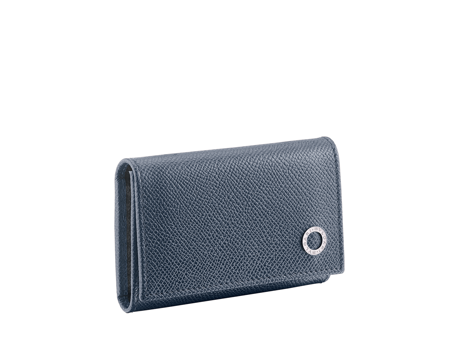 BVLGARI BVLGARI double key holder in denim sapphire and charcoal diamond grain calf leather. Detachable car key holder in palladium plated brass. 289133 image 1