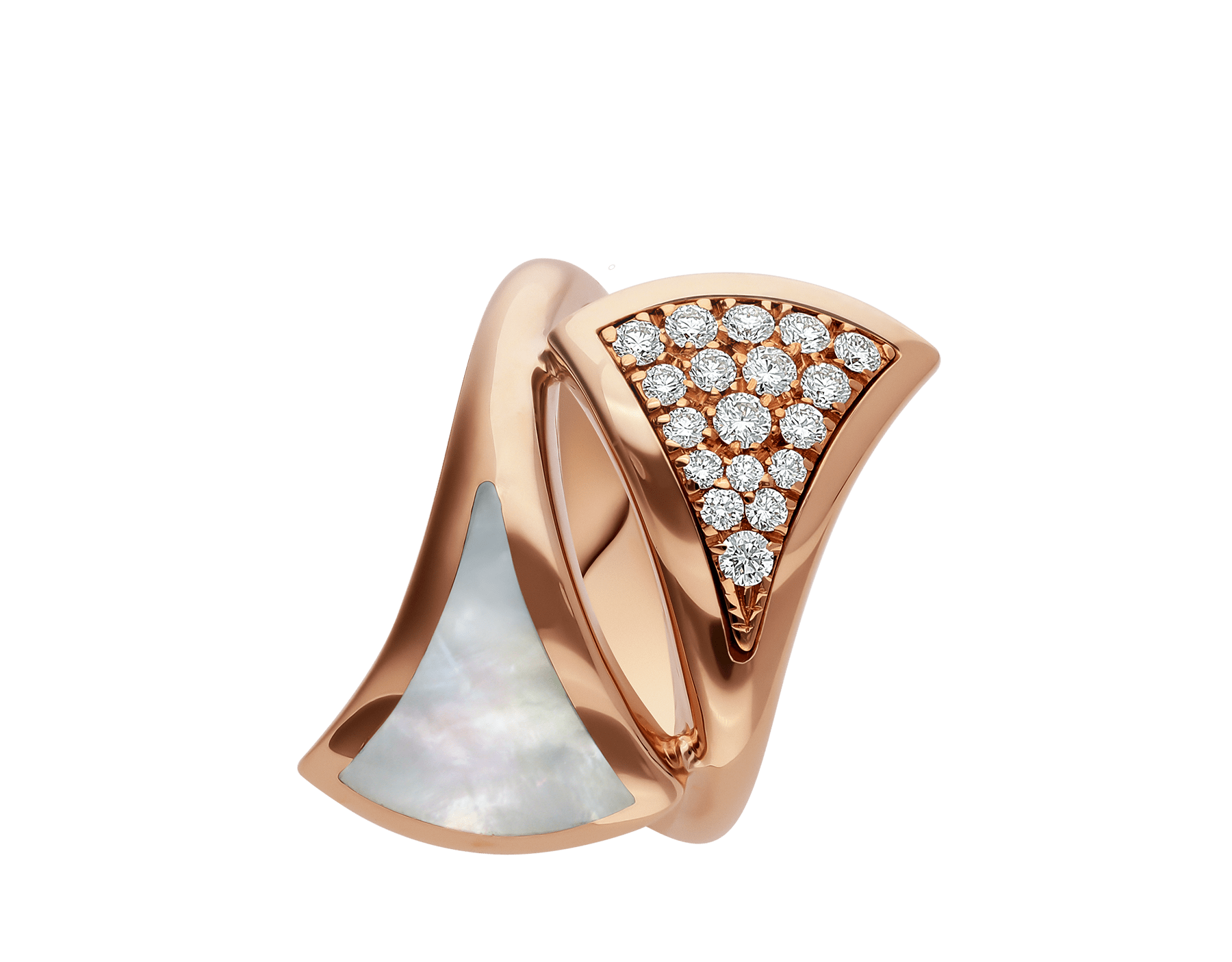 DIVAS' DREAM ring in 18 kt rose gold, set with mother-of-pearl and pavé diamonds. AN857123 image 2