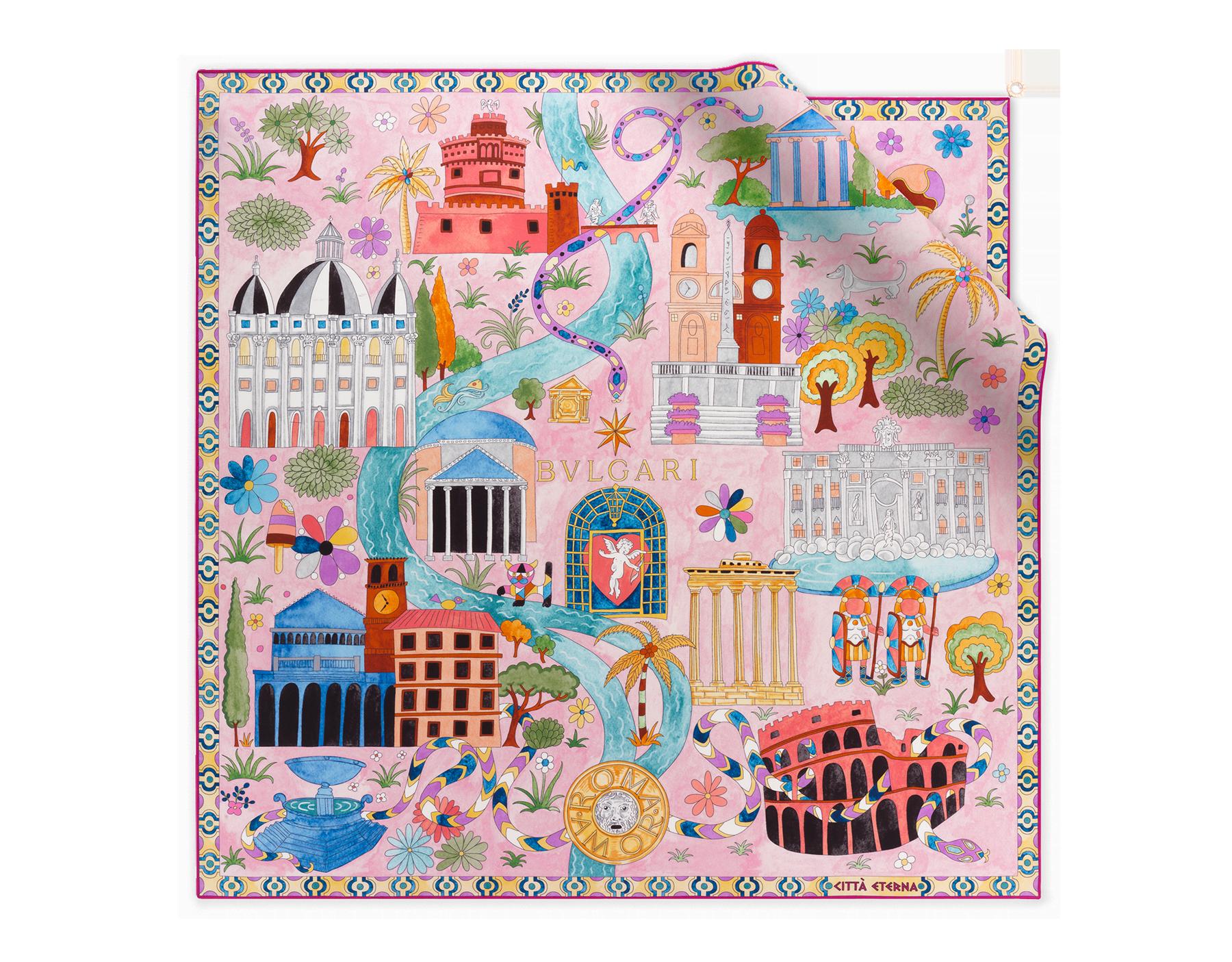 ライトピンクの「Città Eterna」スカーフ。上質なシルクツイル製。 244455 image 1