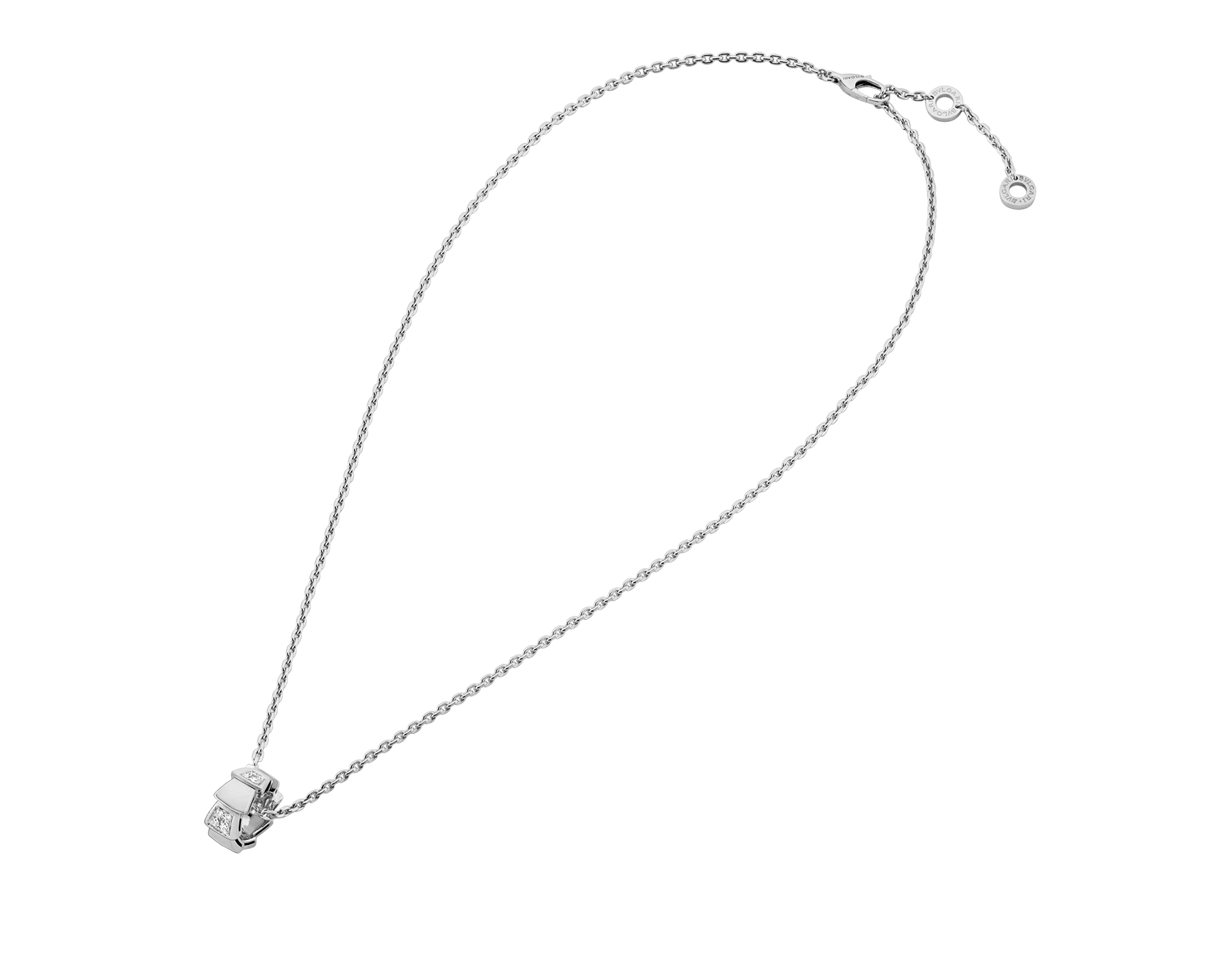 Serpenti Viper necklace with 18 kt white gold chain and 18 kt white gold pendant set with demi pavé diamonds.(0.21 ct) 355255 image 2