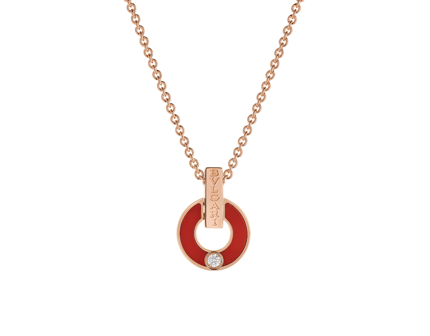 BVLGARI BVLGARI Openwork 18 kt yellow gold necklace set with coral elements and a round brilliant-cut diamond 357921 image 1