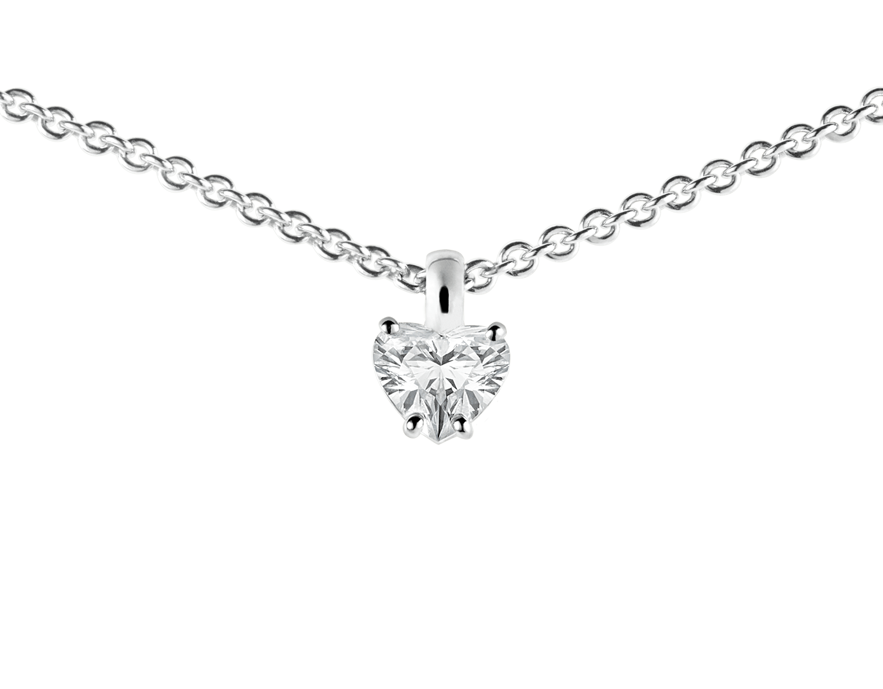 Griffe 18 kt white gold pendant with heart cut diamond and 18 kt white gold chain 338204 image 2