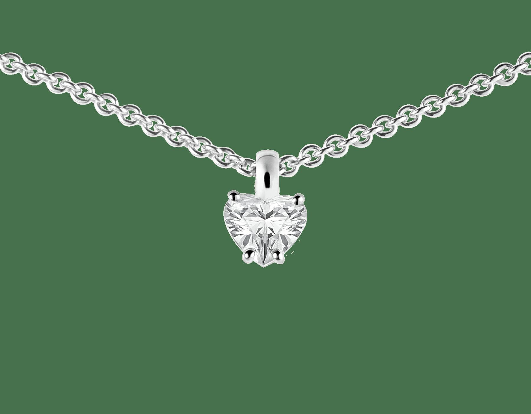 Pendentif Griffe en or blanc 18K serti d'un diamant taille cœur et chaîne en or blanc 18K 338204 image 2