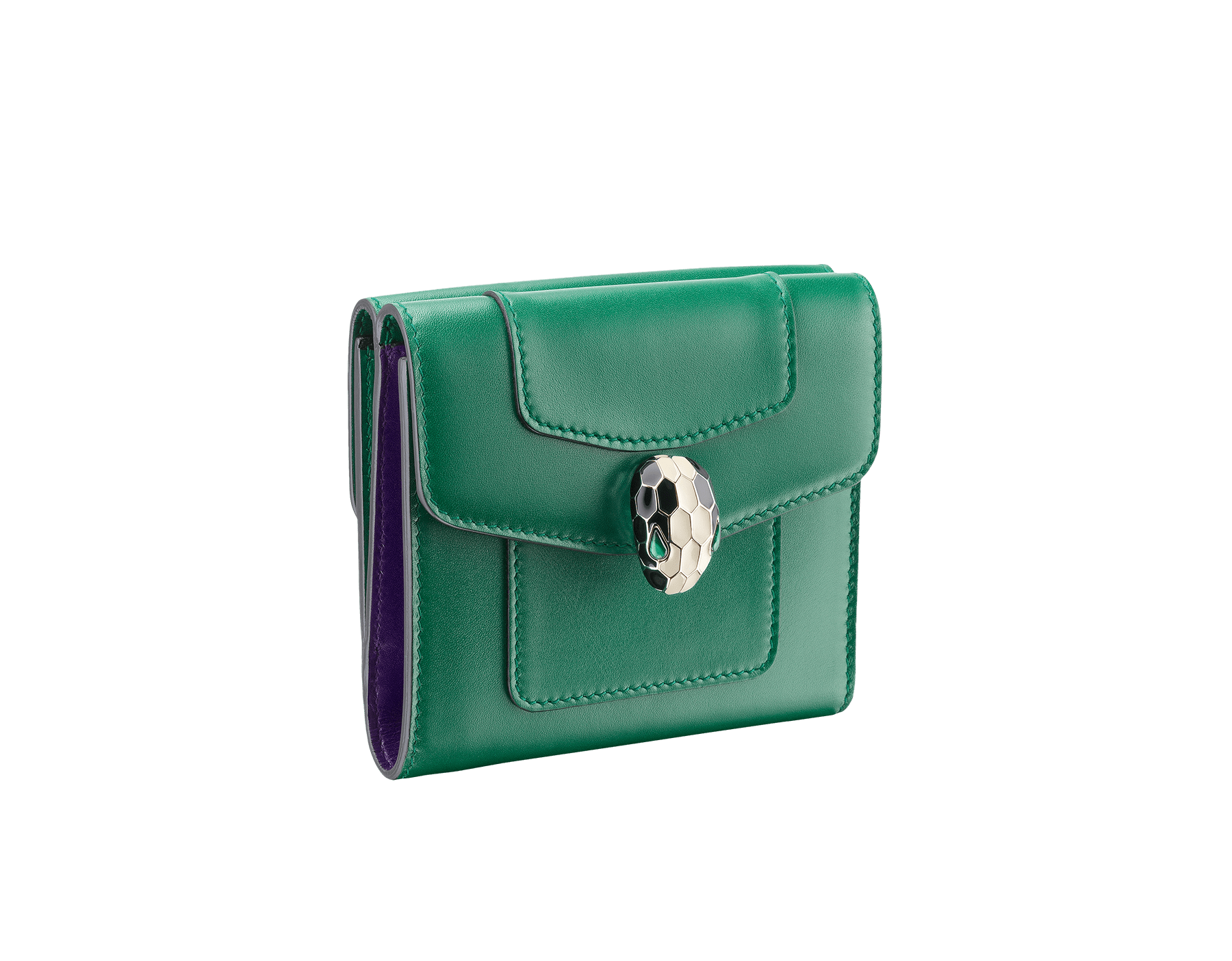 Square compact wallet in emerald green calf leather and violet amethyst calf leather. Brass light gold plated hardware. Serpenti head stud closure in black and white enamel with eyes in green malachite. Double flap cover. Six credit card slots, one bill compartment, two additional compartments and a change holder. Also available in other colours. 11 x 10 cm. - 4.3 x 3.9 281382 image 1