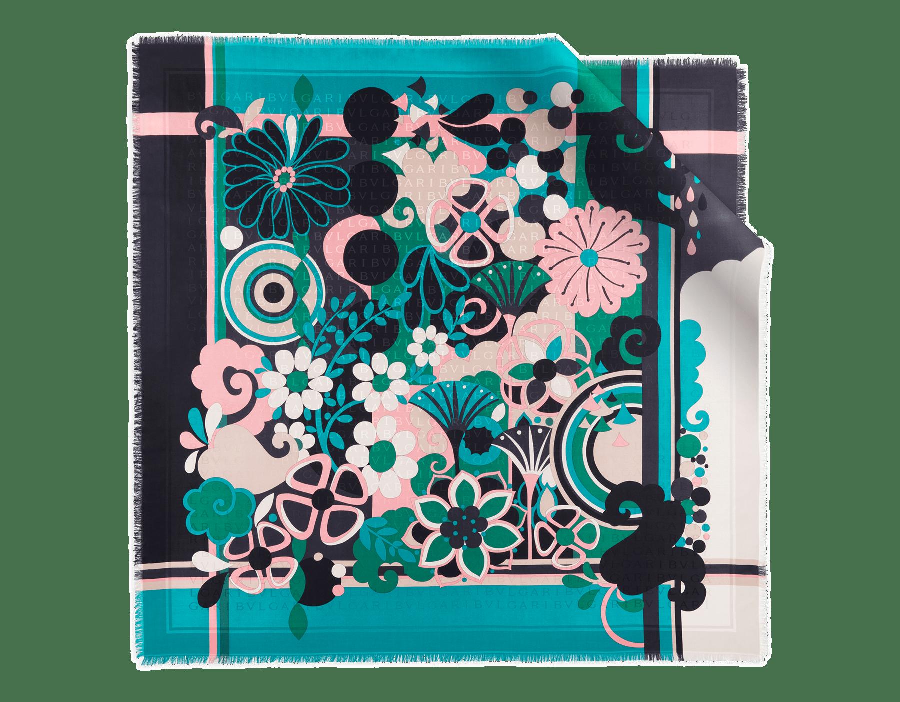 Tropical tourquoise Maxi Fiorever scarf in fine twill silk. 243761 image 1