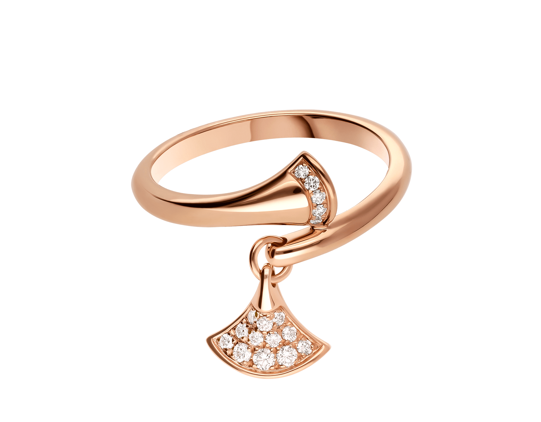 DIVAS' DREAM ring in 18 kt rose gold, set with pavé diamonds. AN857373 image 2