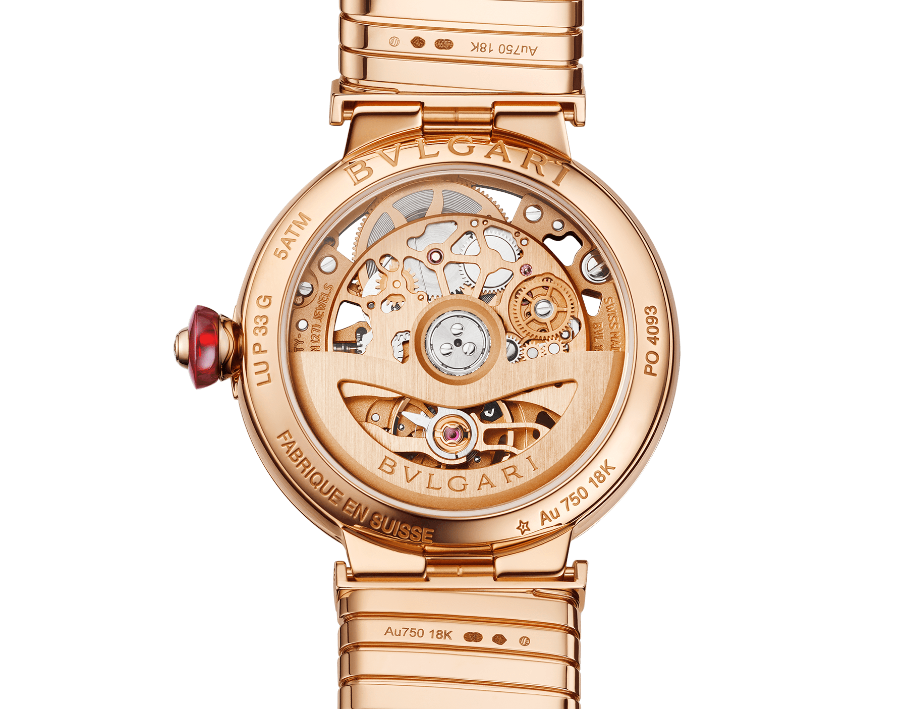 LVCEA Skeleton watch with mechanical manufacture movement, automatic winding and skeleton execution, 18 kt rose gold case, 18kt rose gold bezel set with diamonds, 18 kt rose gold openwork BVLGARI logo dial set with round brilliant-cut diamonds, red hands and 18 kt rose gold tubogas bracelet. Exclusive Edition for the United States 103134 image 4