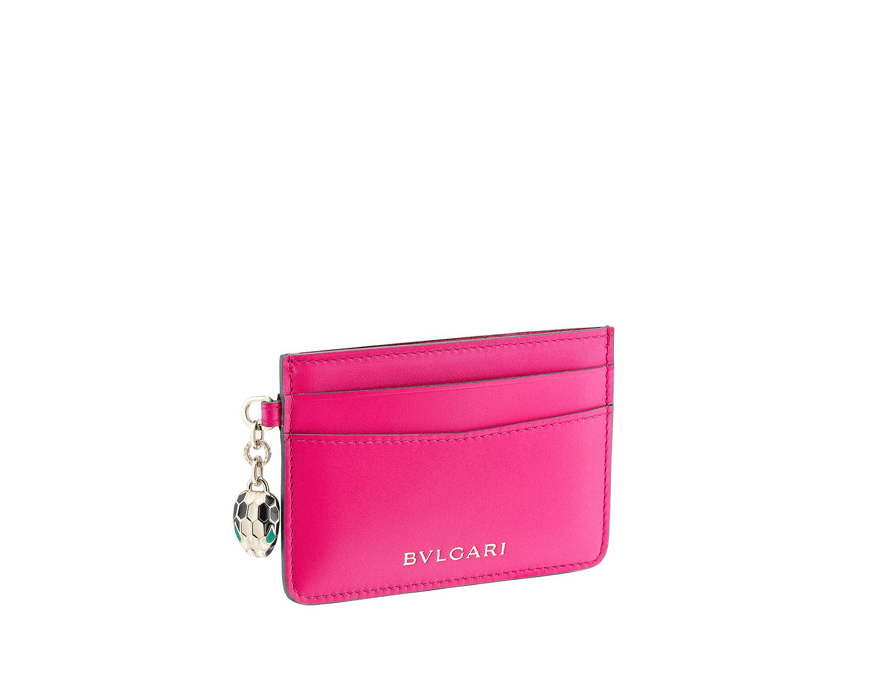 """Serpenti Forever"" card holder in mint calf leather. Iconic snakehead charm in black and white agate enamel, with green emerald enamel eyes. SEA-CC-HOLDER-CLa image 1"
