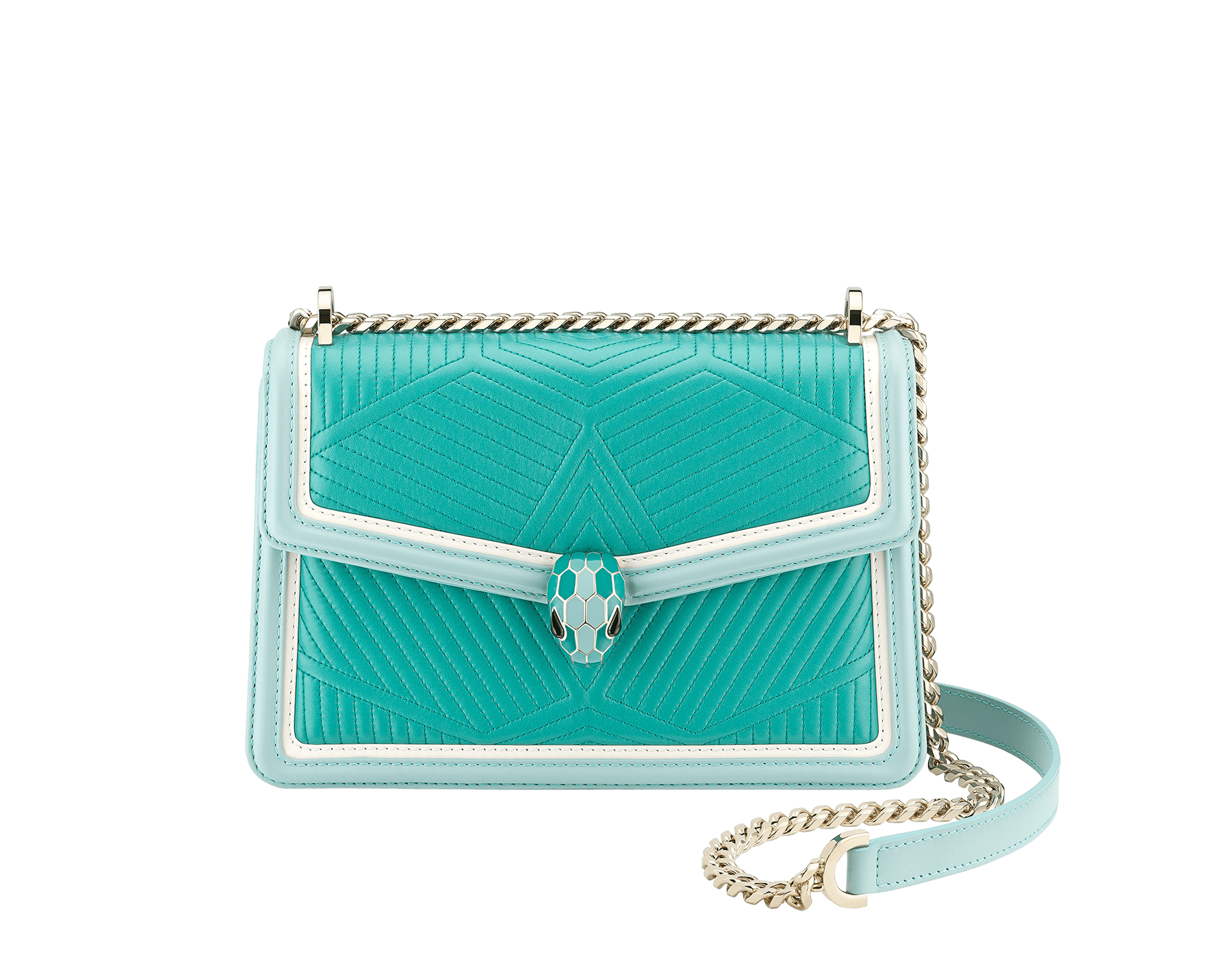 """Serpenti Diamond Blast"" shoulder bag in arctic jade quilted nappa leather and with glacier turquoise and white agate smooth calf leather frames. Iconic snakehead closure in light gold plated brass enriched with arctic jade and glacier turquoise enamel and black onyx eyes. 288824 image 1"