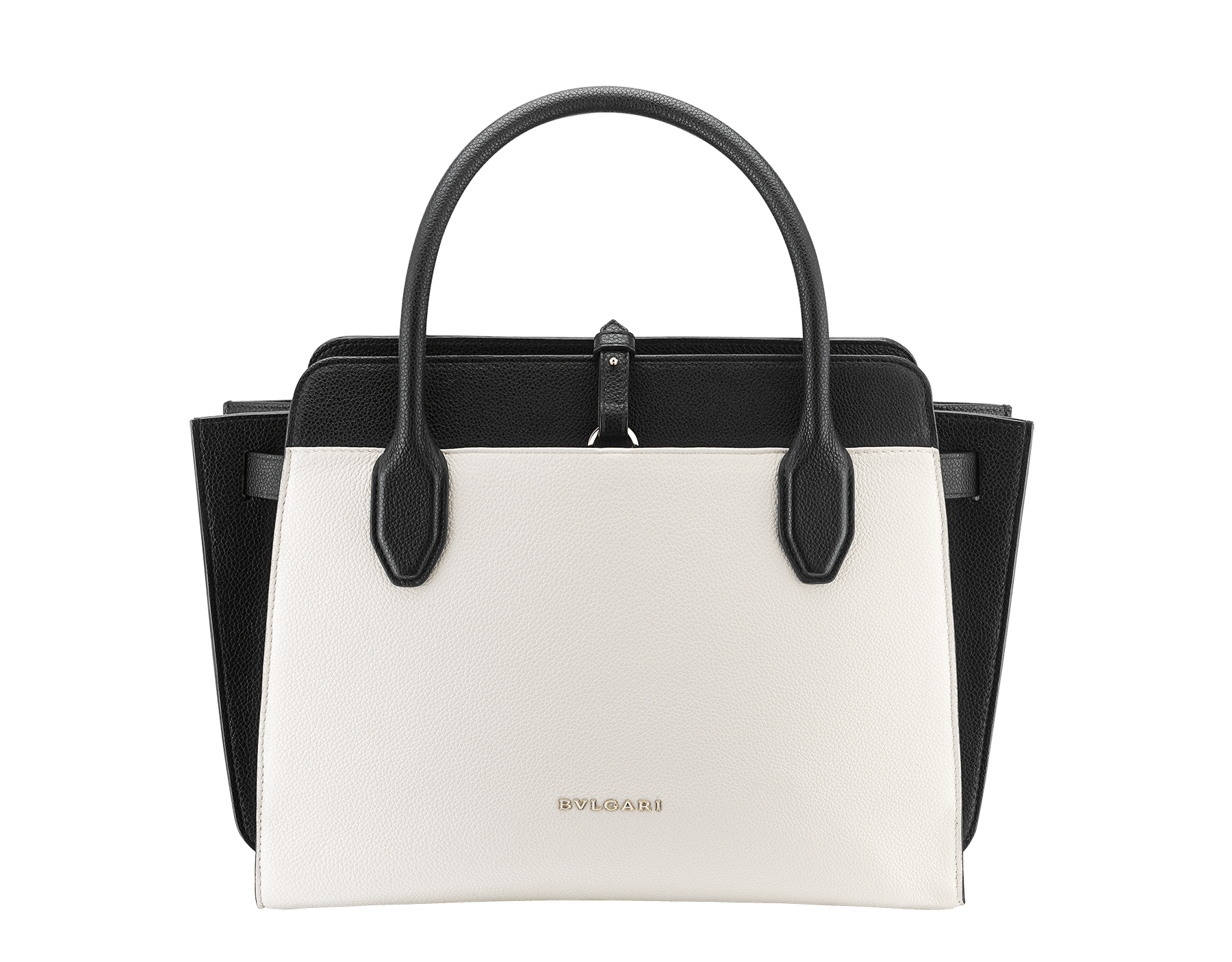 Tote bag BVLGARI BVLGARI Alba in white agate and black grain calf leather with zip closure. Pendant motif in brass light gold plated metal featuring the iconic double logo and Tubogas motif. 282797 image 3