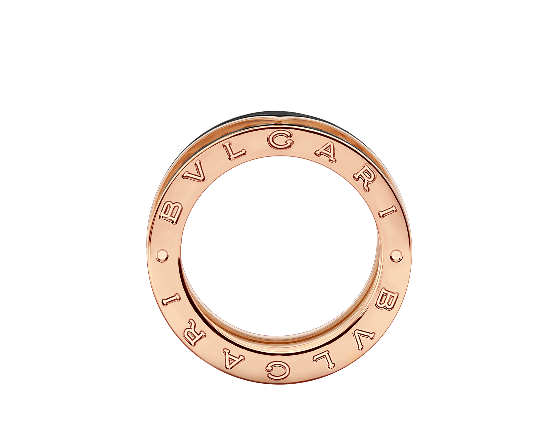 B.zero1 Rock two-band ring in 18 kt rose gold with studded spiral and black ceramic inserts on the edges AN859090 image 2