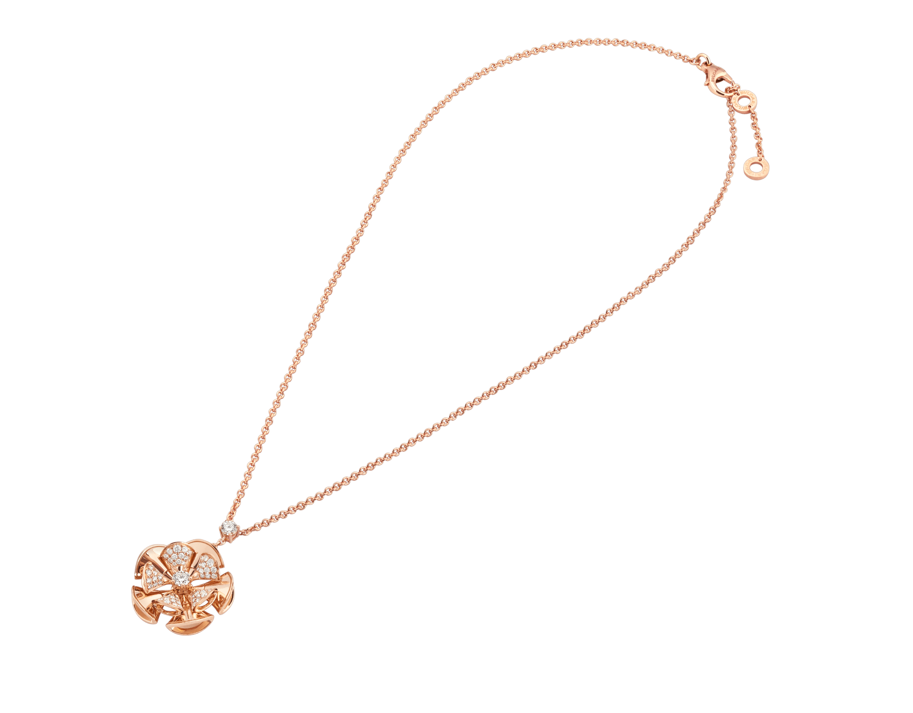 DIVAS' DREAM necklace in 18 kt rose gold with a diamond on the chain and 18 kt rose gold pendant set with central diamond and pavé diamonds. 350783 image 2