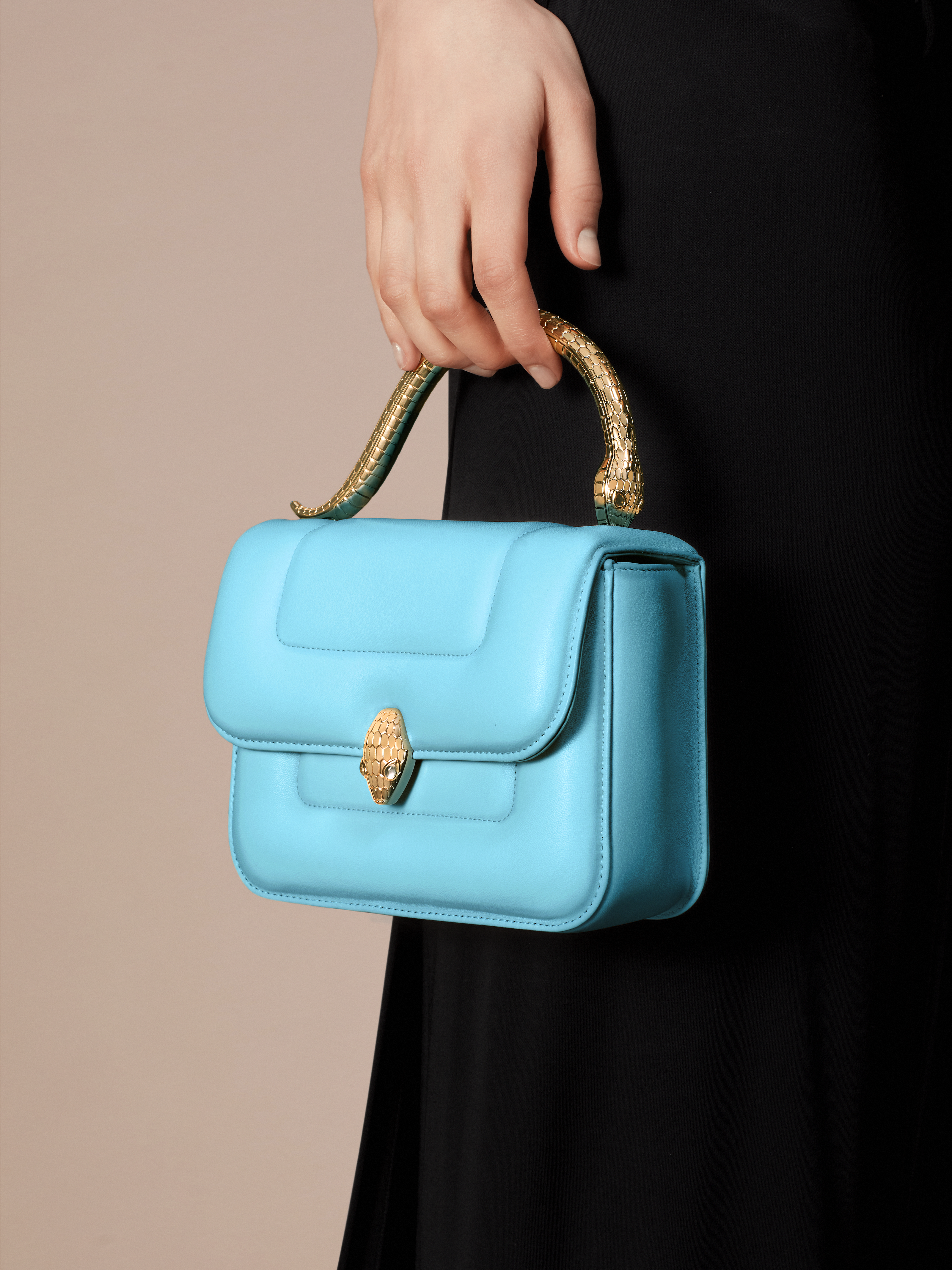 """""""Mary Katrantzou x Bvlgari"""" top handle bag in soft matelassé Aegean Topaz blue nappa leather, with Aegean Topaz blue nappa leather inner lining. New Serpenti head closure in gold-plated brass, finished with seductive crystal eyes. Special Edition. MK-1142 image 8"""