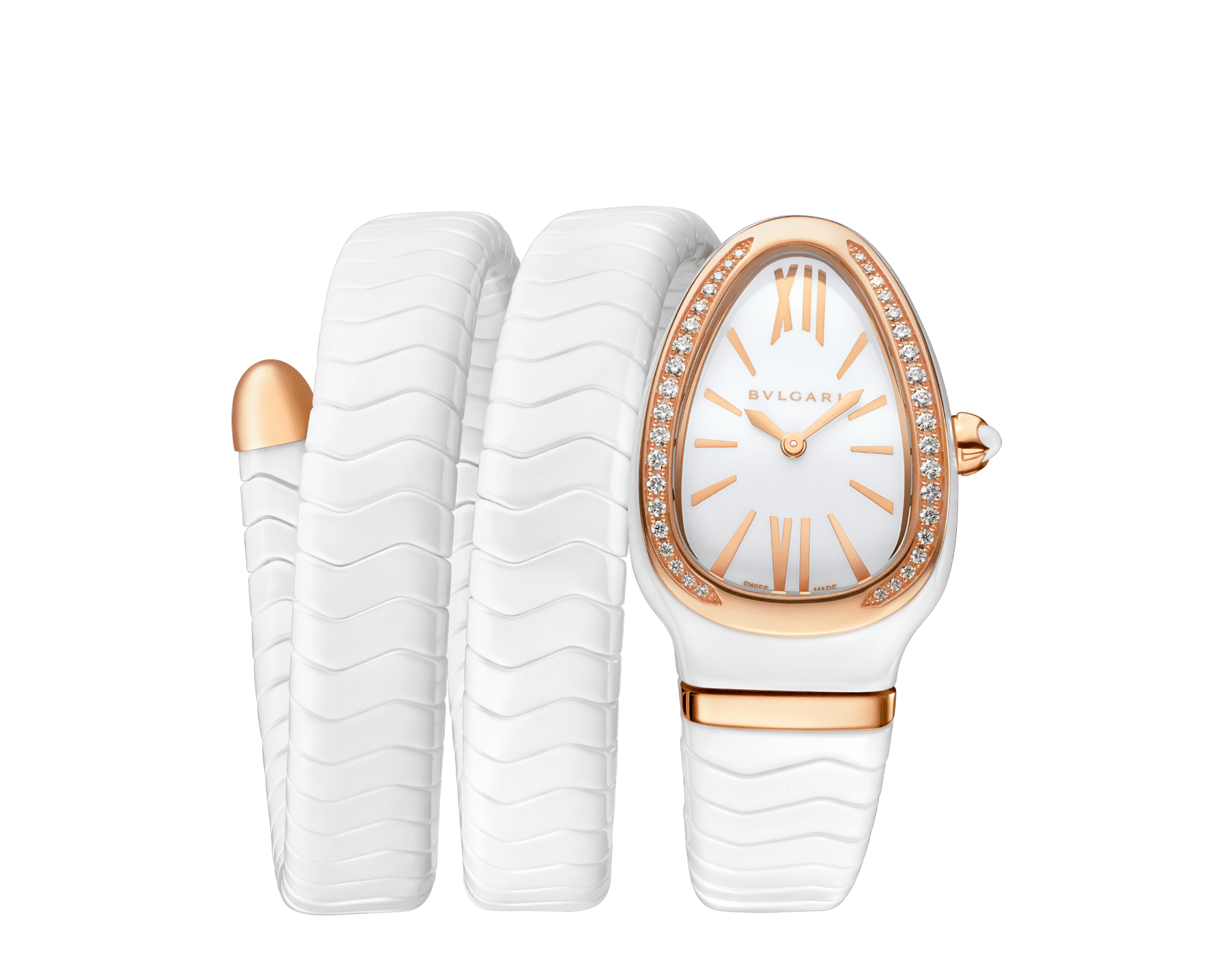 Serpenti Spiga watch with white ceramic case, 18 kt rose gold bezel set with diamonds, white lacquered polished dial and double spiral bracelet in white ceramic and 18 kt rose gold elements. 102886 image 1