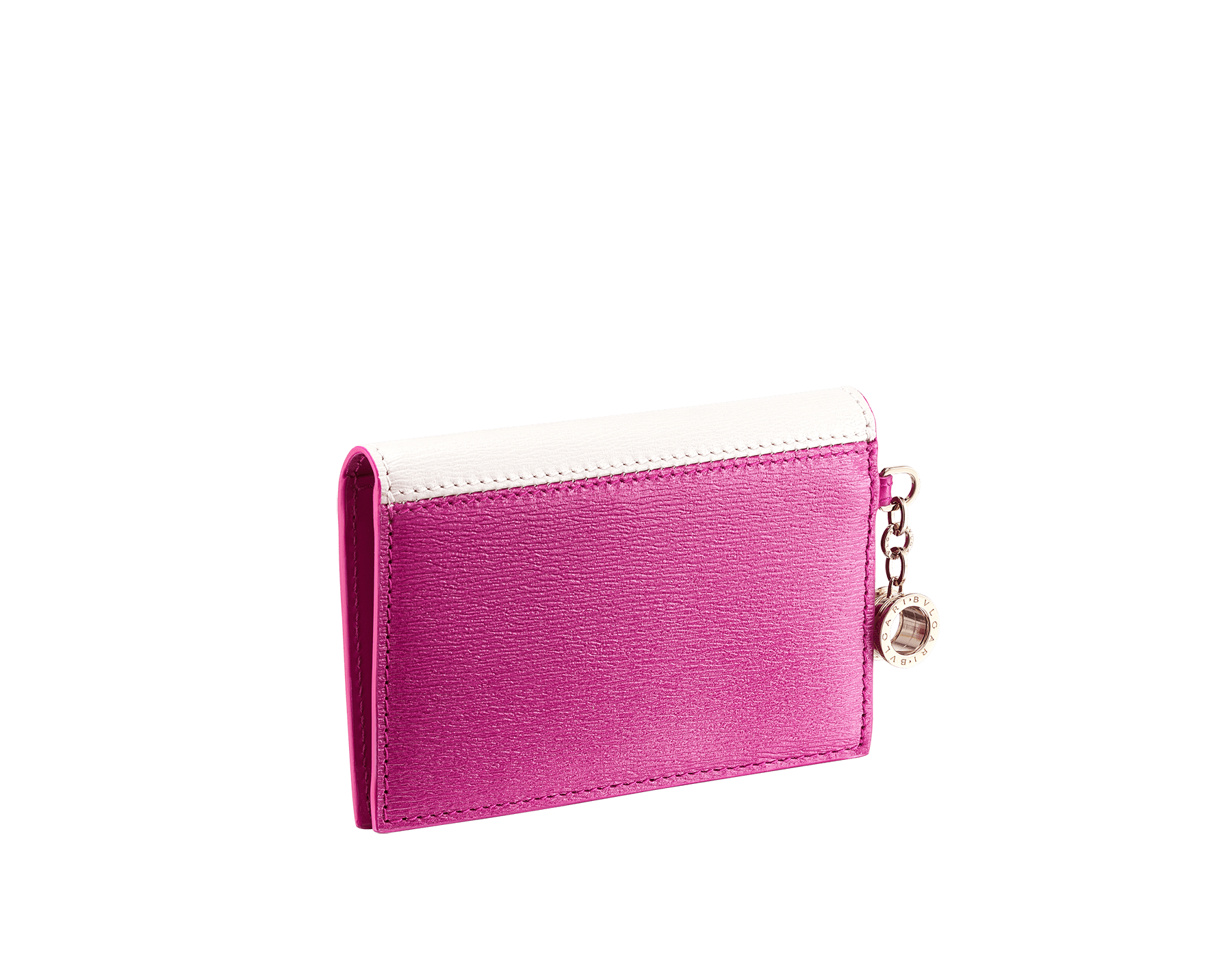 """B.zero1"" folded card holder in white agate and berry tourmaline goatskin and berry tourmaline calf leather. Iconic B.zero1 charm in light gold-plated brass. 289779 image 3"