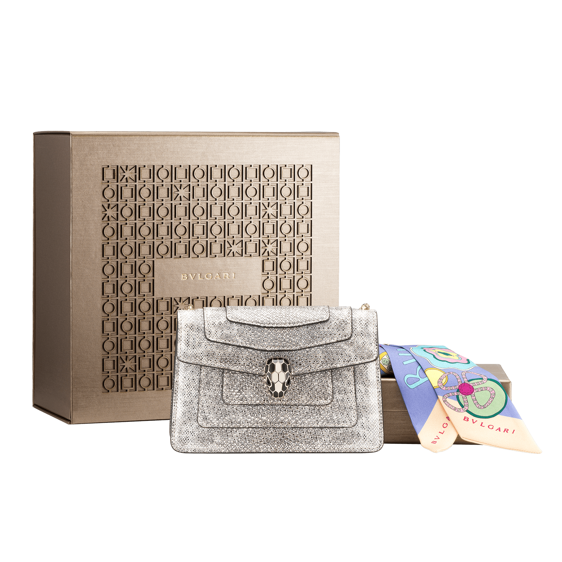 An elegant box composed of a white agate metallic karung skin bag and a Lavender Amethyst lilac silk twill shelley, for a special gift.  <br>*Note that not all color variants may be available.<br> Women-Gift-Set-crossbody-mini-bag-and-shelley image 1