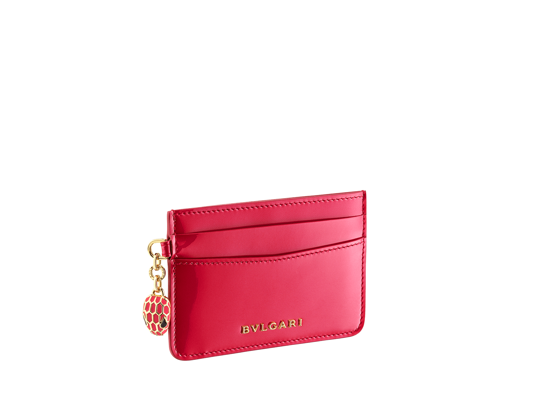 """Serpenti Forever"" card holder in Amaranth Garnet red calf leather with a varnished and pearled effect. Tempting gold plated brass snakehead charm , finished with full matte Amaranth Garnet red enamel, and black enamel eyes. Chinese New Year Special Edition. 290605 image 1"