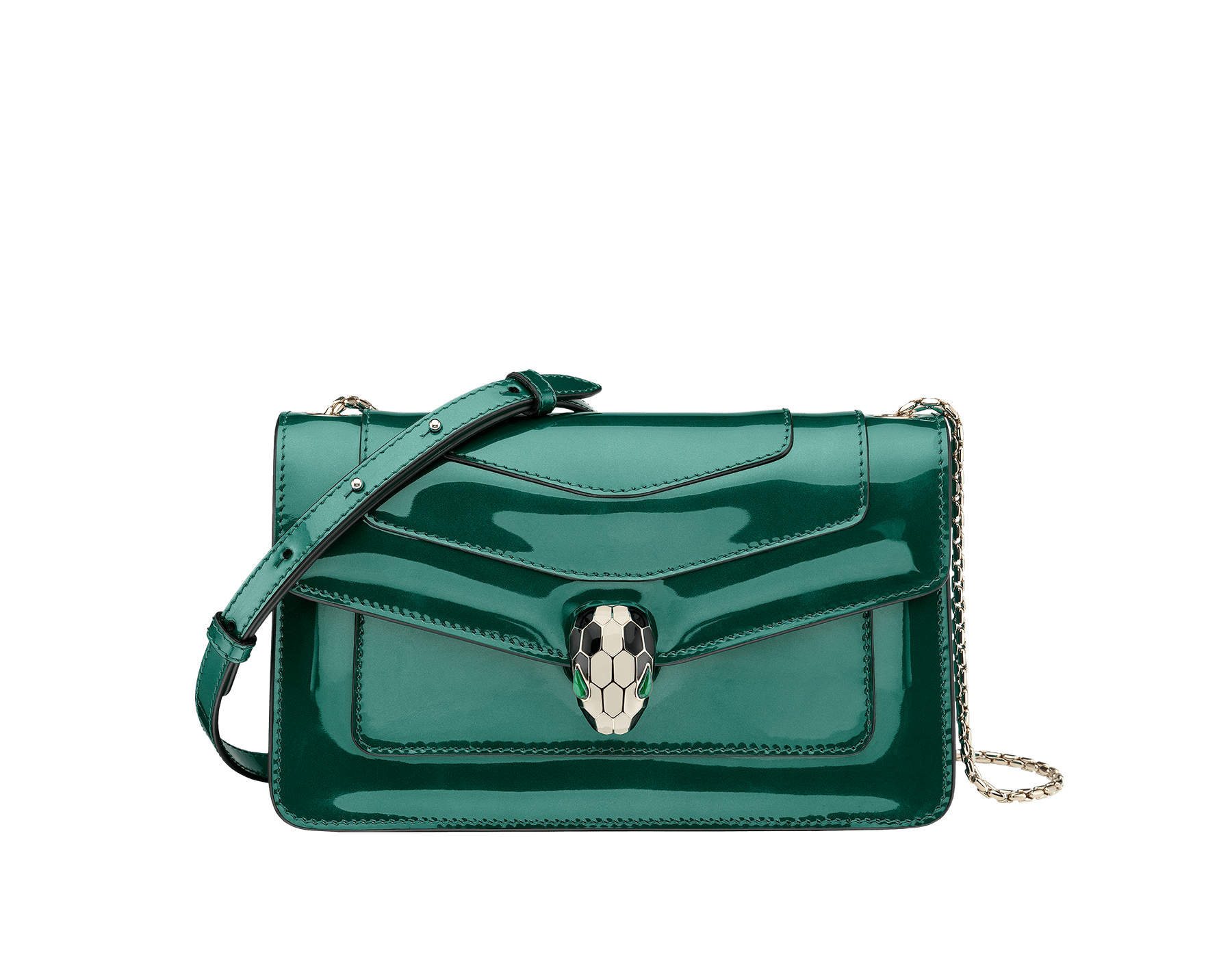 Flap cover bag Serpenti Forever in forest emerald brushed metallic calf leather. Brass light gold plated snake head closure in black and white enamel with eyes in green malachite. 283525 image 1
