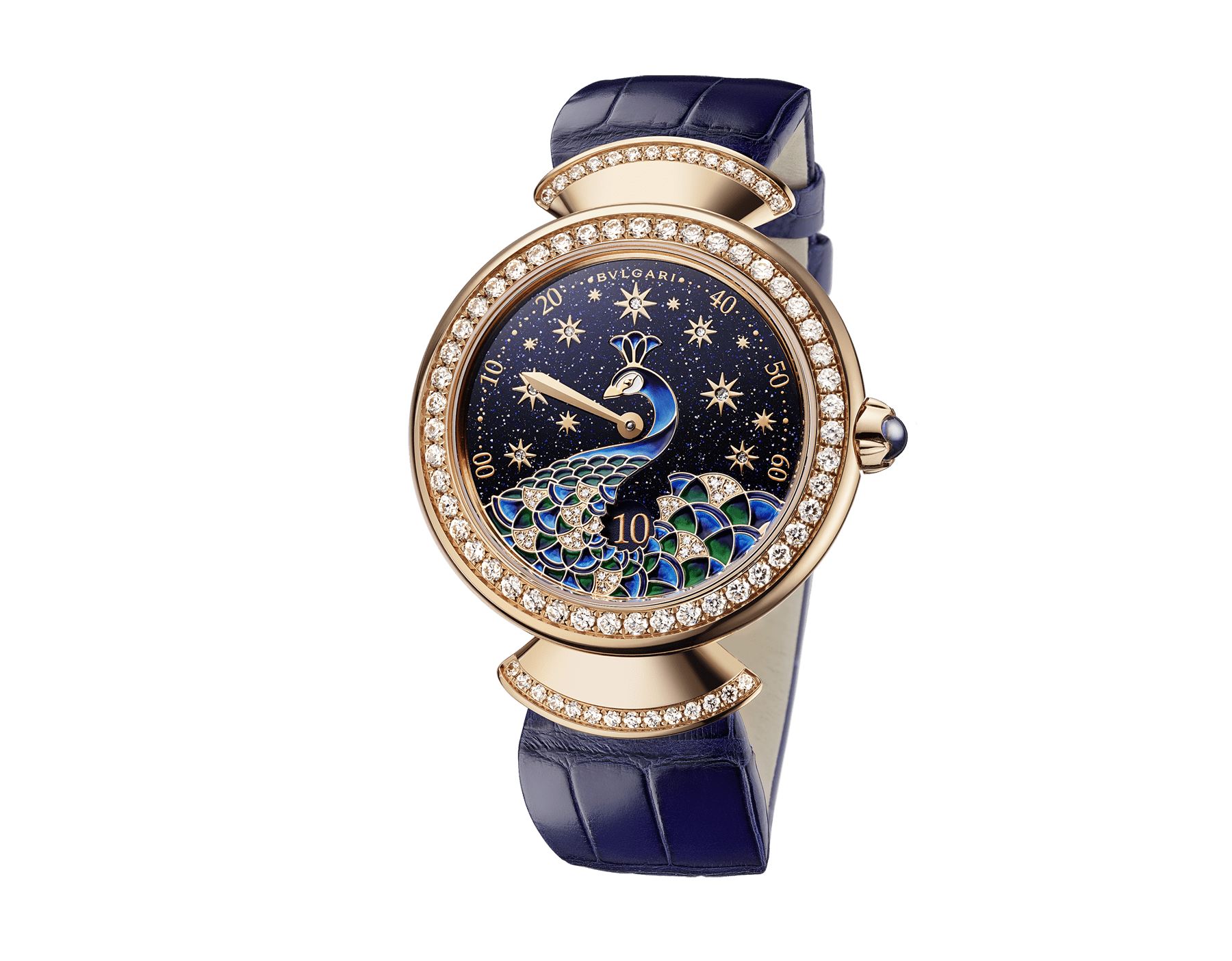DIVAS' DREAM watch with mechanical manufacture movement, automatic winding, jumping hours and retrograde minutes (180°). 18 kt rose gold case, 18 kt rose gold bezel and fan-shaped links both set with brilliant-cut diamonds, aventurine dial with miniature painted peacock, stars and indexes in brilliant-cut diamonds, blue alligator strap 103114 image 2