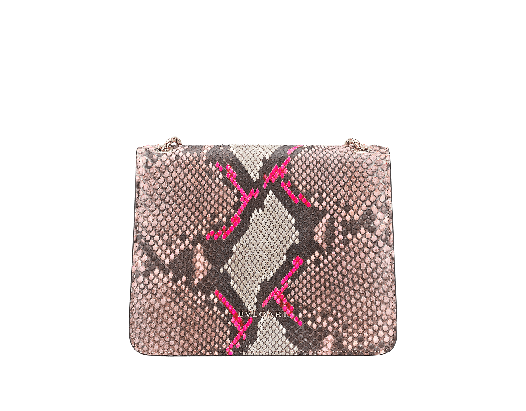 """Serpenti Forever"" crossbody bag in silky coral and flash amethyst Neon python skin. Iconic snake head closure in light gold plated brass enriched with black and flash amethyst enamel and black onyx eyes. 288953 image 4"