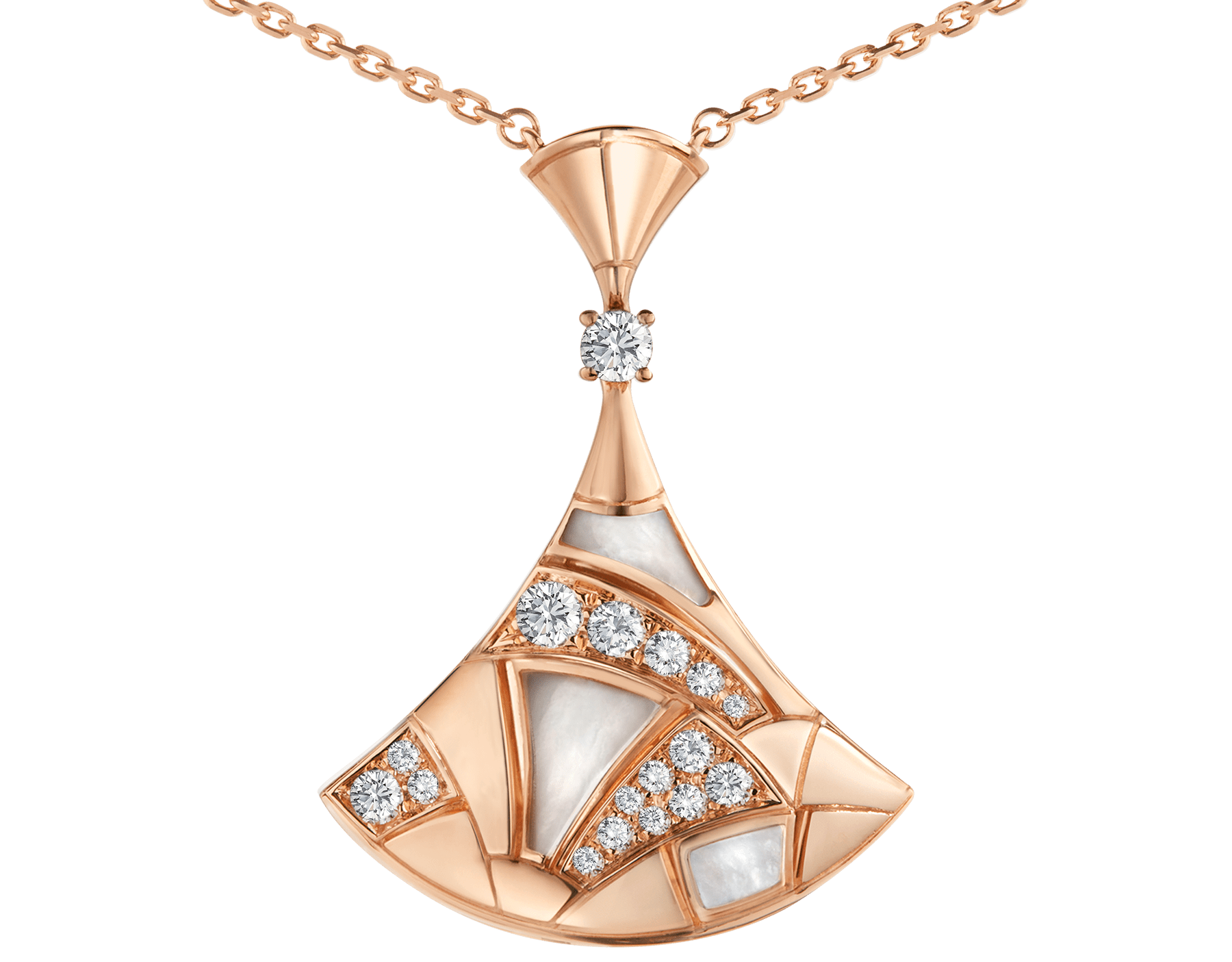 DIVAS' DREAM necklace in 18 kt rose gold with pendant set with mother-of-pearl elements, one diamond and pavé diamonds. 350065 image 3