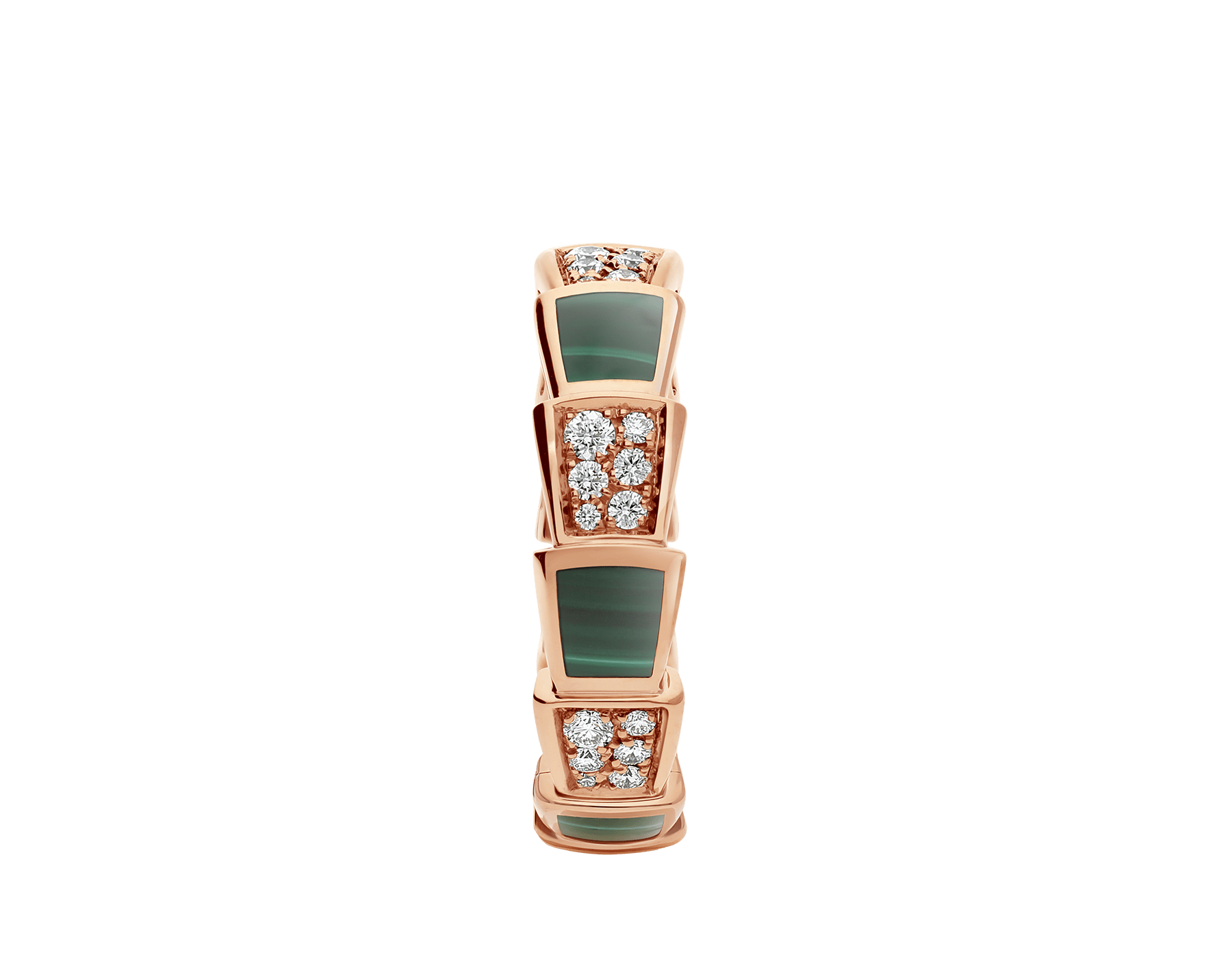 Serpenti Viper 18 kt rose gold ring set with malachite elements and pavé diamonds AN858203 image 2