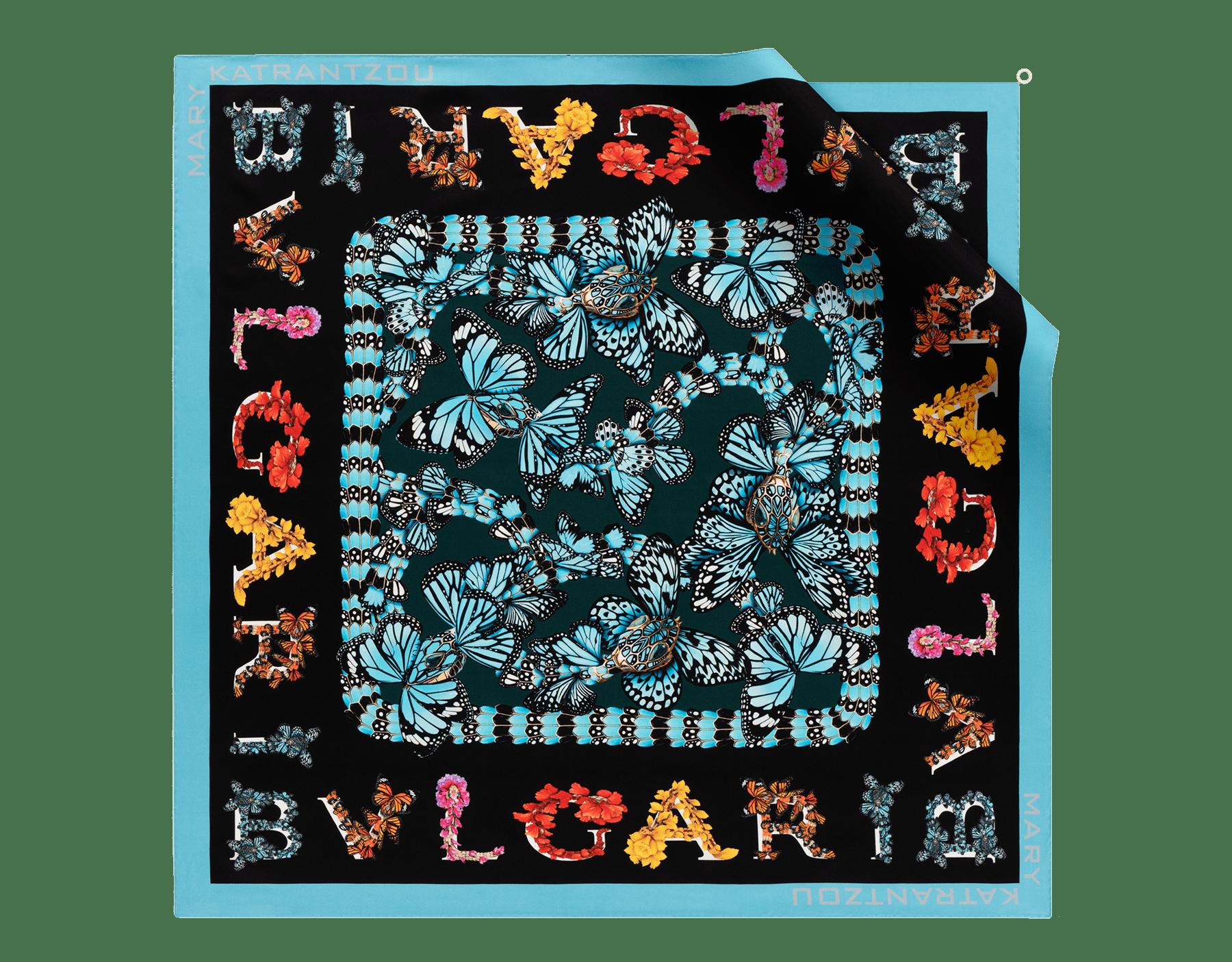 "Black ""Mary Katrantzou x Bvlgari"" scarf in fine, printed silk twill. Special Edition. MK-90Scarf image 1"