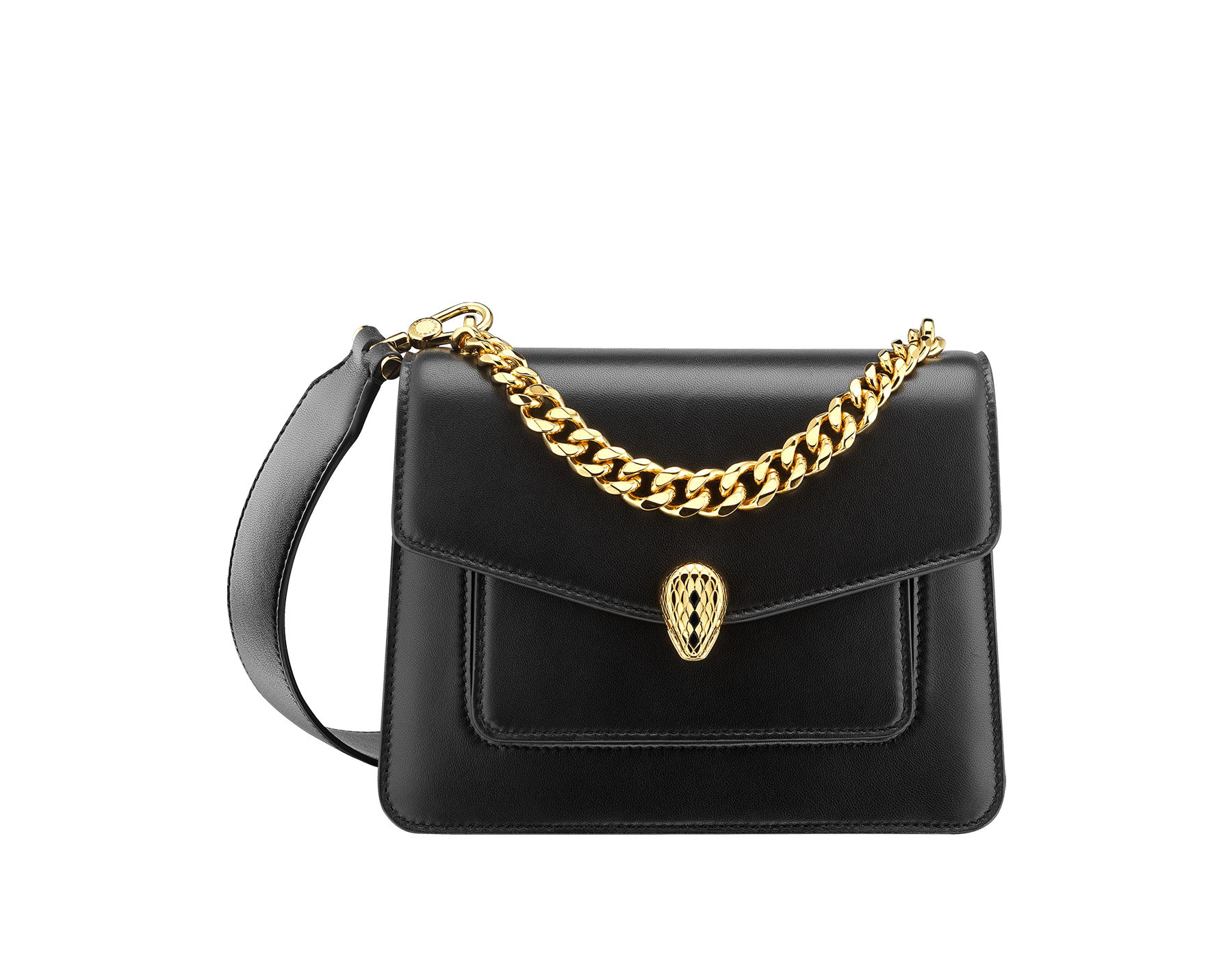 """""""Serpenti Forever"""" small maxi chain crossbody bag in black nappa leather, with black nappa leather inner lining. New Serpenti head closure in gold-plated brass, finished with small black onyx scales in the middle, and red enamel eyes. 291050 image 1"""