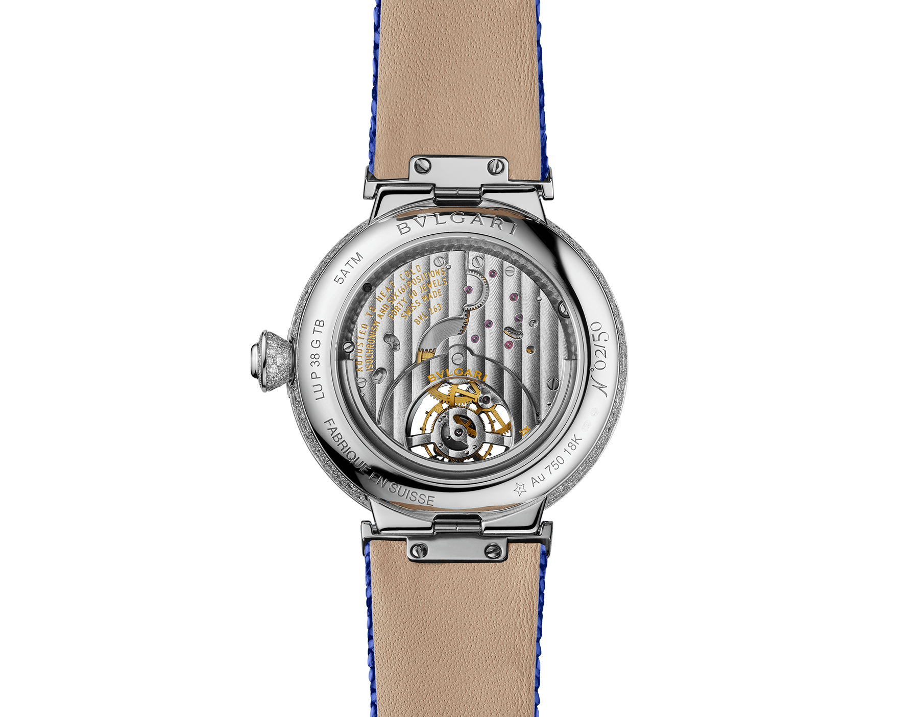 LVCEA Tourbillon Limited Edition watch with mechanical manufacture movement, automatic winding, see-through tourbillon, 18 kt white gold case set with round brilliant-cut diamonds, full-pavé dial with round brilliant-cut diamonds and blue colour finish, and blue galuchat bracelet 102881 image 4