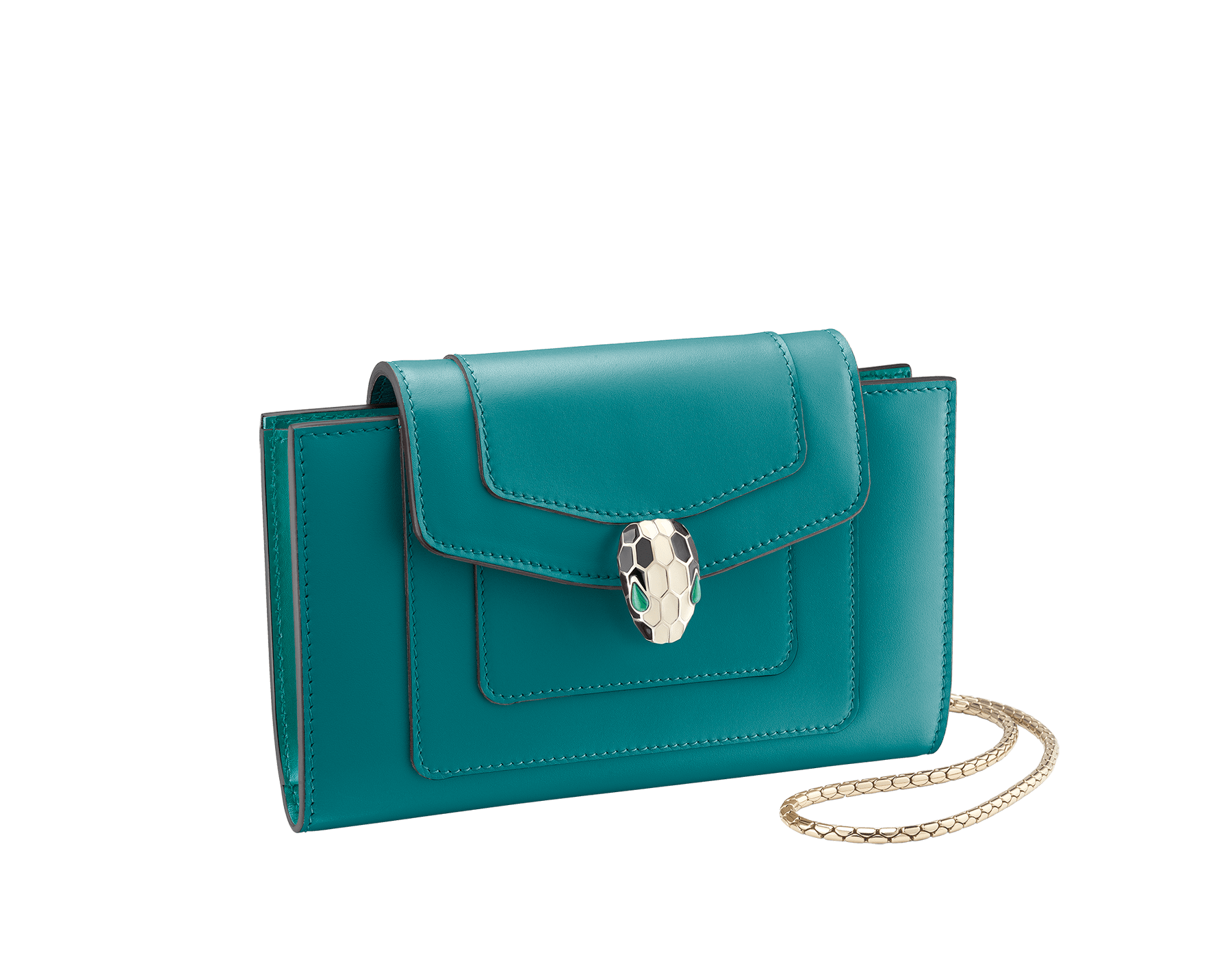Techno-hybrid Serpenti Forever in deep jade calf leather, with tropical tourquoise calf leather lining. Brass light gold plated Serpenti head stud closure in black and white enamel, with green enamel eyes. 288026 image 1