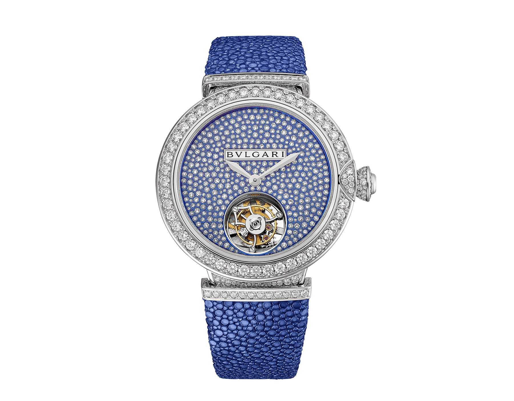 LVCEA Tourbillon Limited Edition watch with mechanical manufacture movement, automatic winding, see-through tourbillon, 18 kt white gold case set with round brilliant-cut diamonds, full-pavé dial with round brilliant-cut diamonds and blue colour finish, and blue galuchat bracelet 102881 image 1