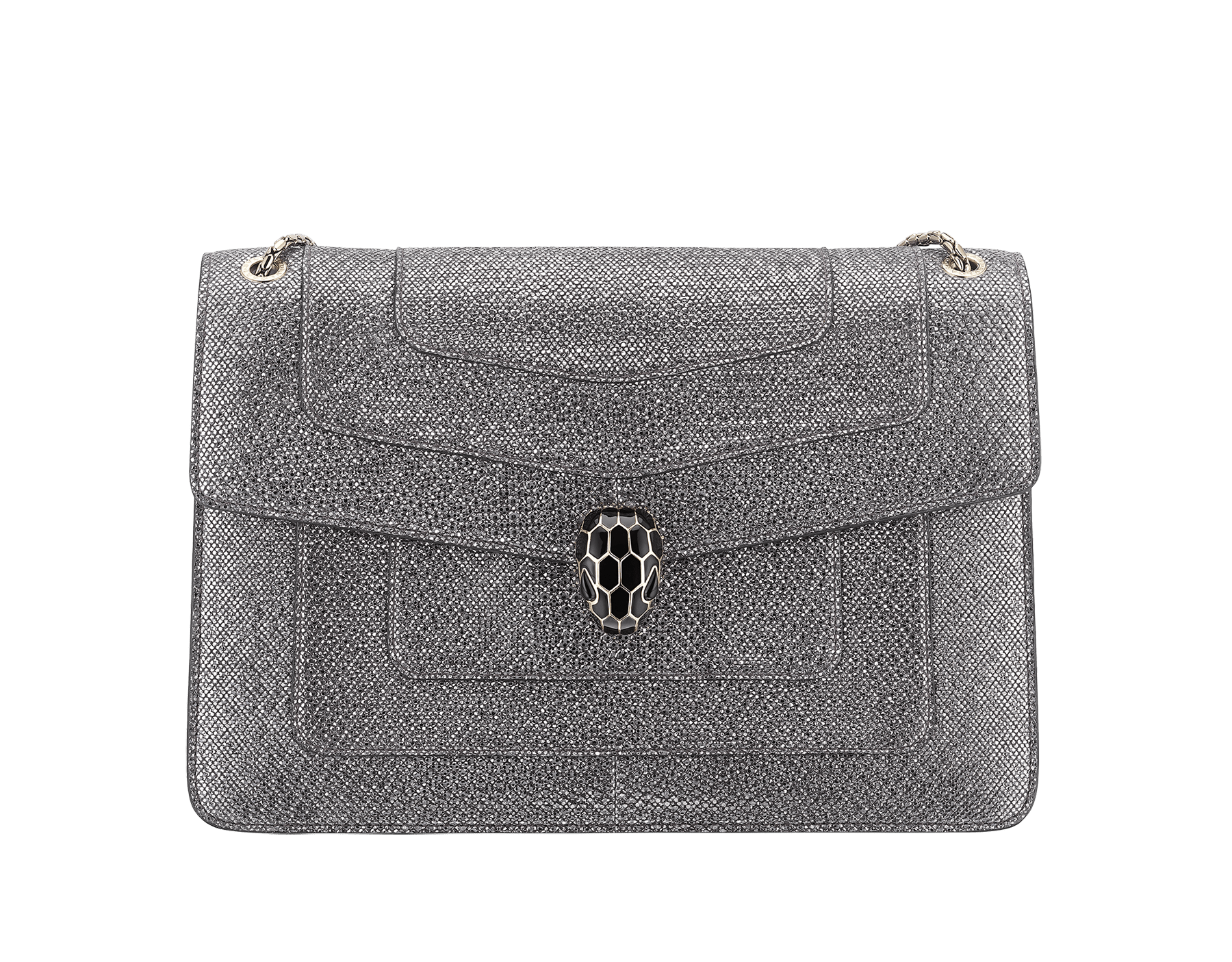 """""""Serpenti Forever"""" shoulder bag in Charcoal Diamond grey metallic karung skin with Charcoal Diamond grey nappa leather internal lining. Tempting snakehead closure light gold plated brass enriched with black and glitter Hawk's Eye grey enamel and black onyx eyes. 1089-MK image 1"""