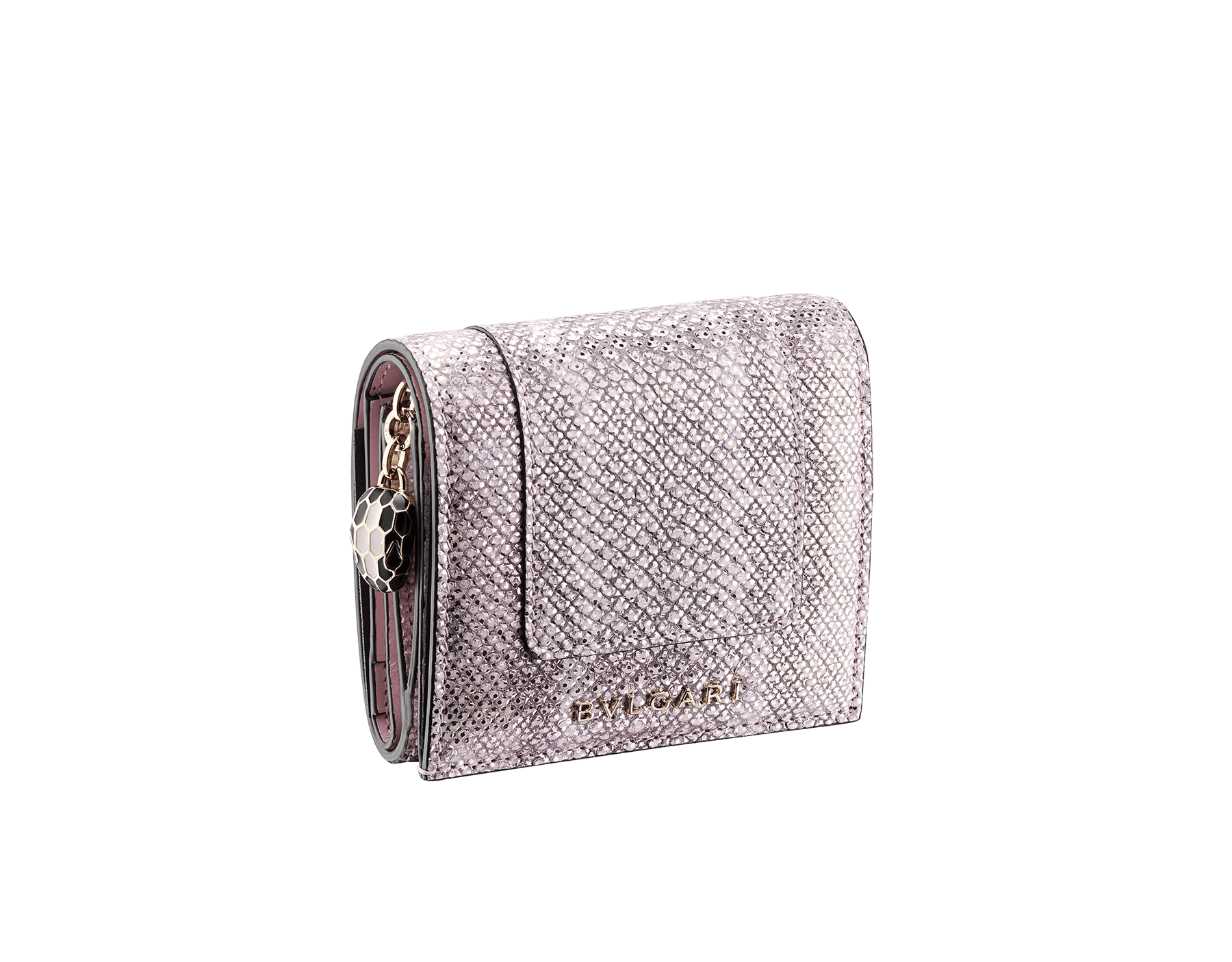 Serpenti Forever super compact wallet in milky opal metallic karung skin and milky opal calf leather. Iconic snakehead stud closure in black and glitter milky opal enamel, with black enamel eyes. SEA-SUPERCOMPACT-MK image 1