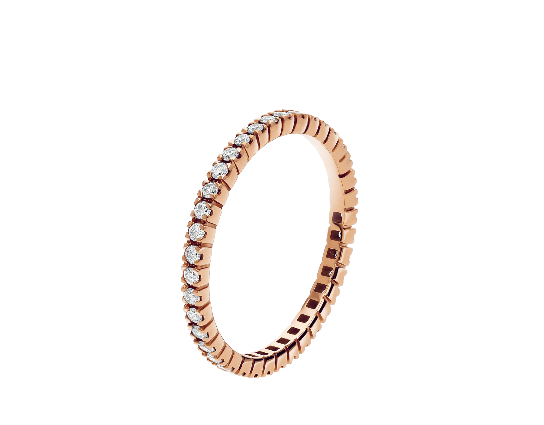 Eternity Band in thin size in 18 kt rose gold with round brilliant cut diamonds AN856428 image 1