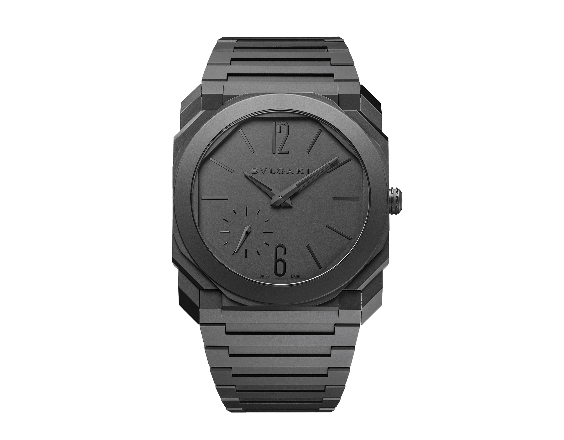 Octo Finissimo Automatic watch in black sandblasted ceramic with extra-thin mechanical manufacture movement, automatic winding with platinum micro rotor, small seconds and transparent case back. Water-resistant up to 30 meters 103077 image 1
