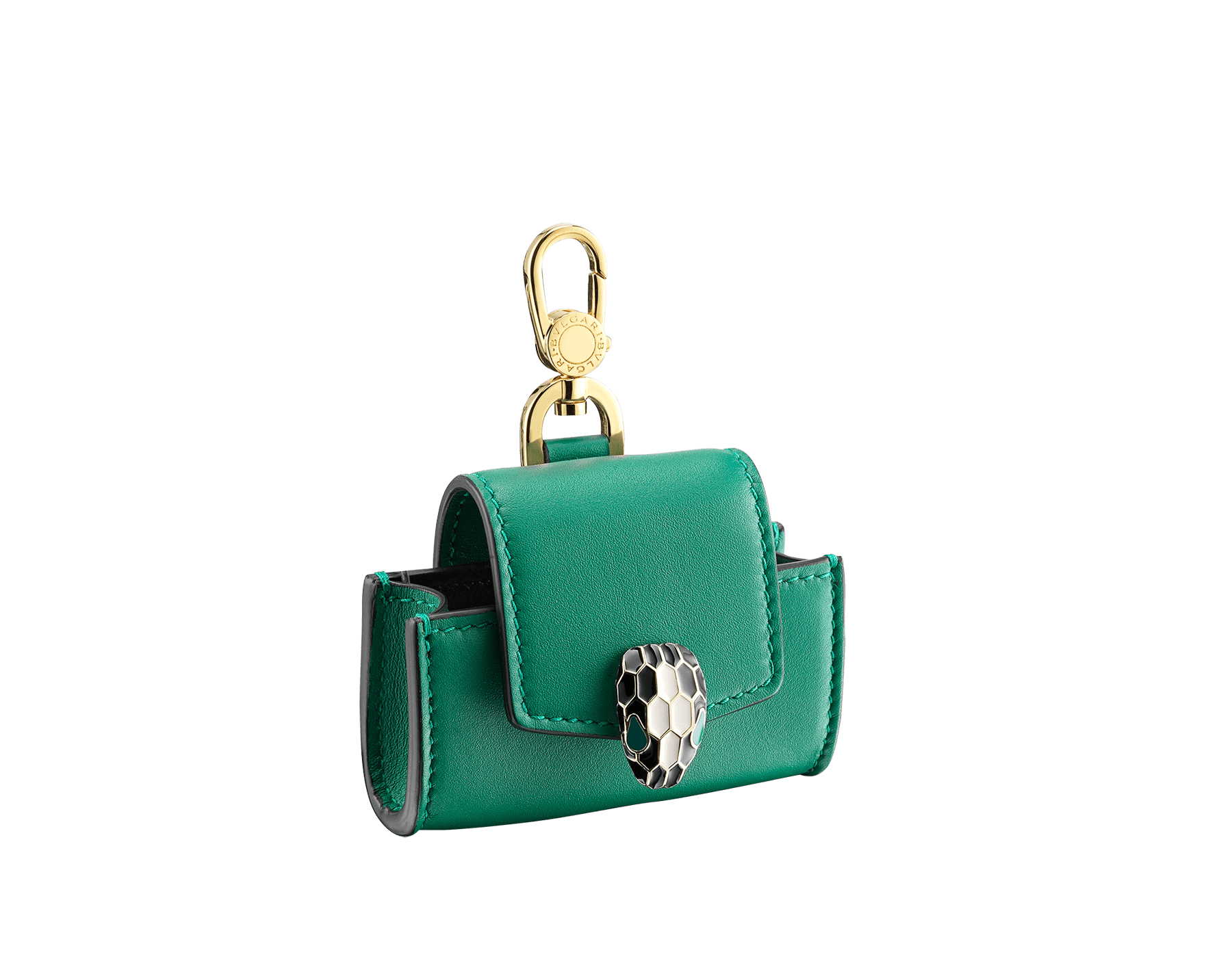 """""""Serpenti Forever"""" airbuds and AirPods case in soft emerald-green calfskin and black nappa leather. Serpenti head closure in light gold-plated brass with black and agate-white enamel and emerald-green enamel eyes. SEA-AIRPODPRO image 1"""