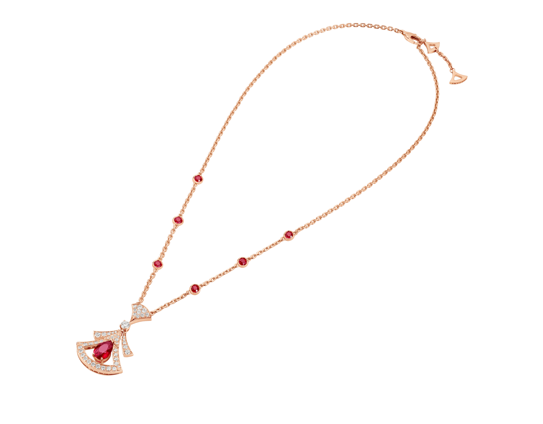 DIVAS' DREAM 18 kt rose gold openwork necklace set with a pear-shaped ruby, round brilliant-cut rubies, a round brilliant-cut diamond and pavé diamonds. 356953 image 2