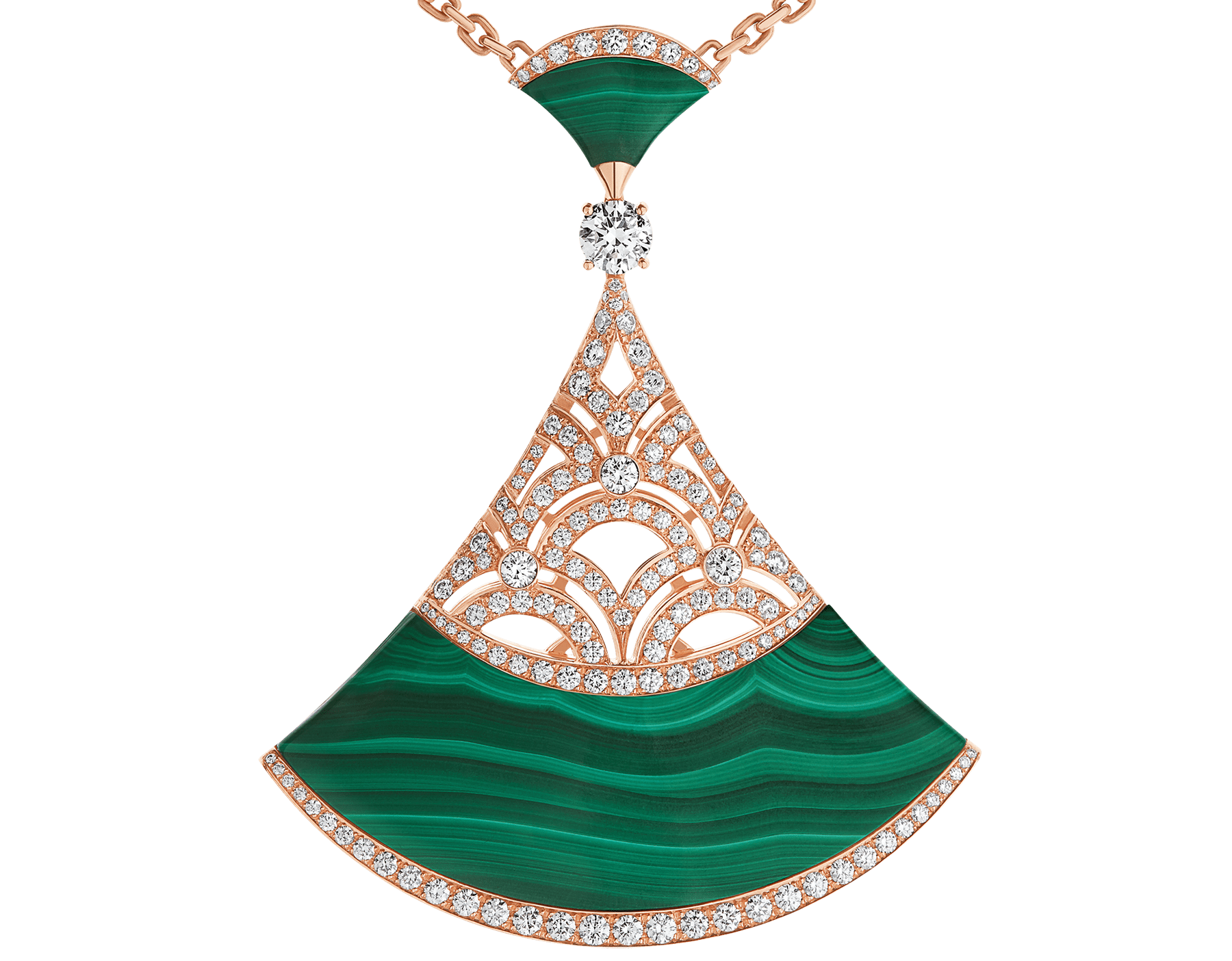 Divas' Dream necklace with 18 kt rose gold chain set with malachite beads and diamonds, and 18 kt rose gold openwork pendant set with a diamond (0.50 ct), pavé diamonds and malachite inserts. Special edition exclusive to Middle East 358222 image 3