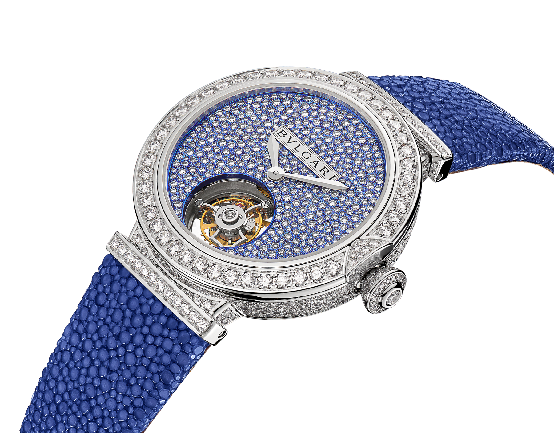 LVCEA Tourbillon Limited Edition watch with mechanical manufacture movement, automatic winding, see-through tourbillon, 18 kt white gold case set with round brilliant-cut diamonds, full-pavé dial with round brilliant-cut diamonds and blue colour finish, and blue galuchat bracelet 102881 image 2