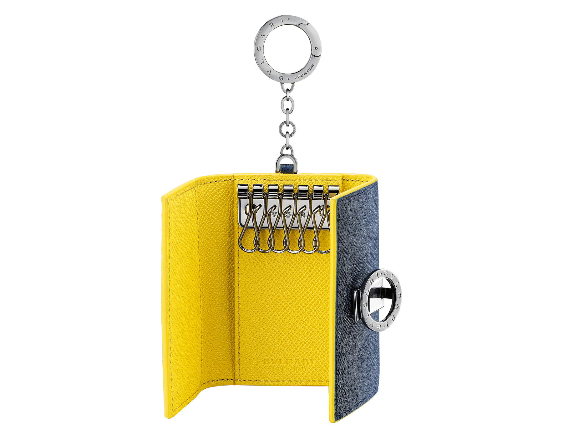 BVLGARI BVLGARI key holder in denim sapphire and daisy topaz grain calf leather. Iconic logo décor and snap hook in palladium-plated brass. 289866 image 2