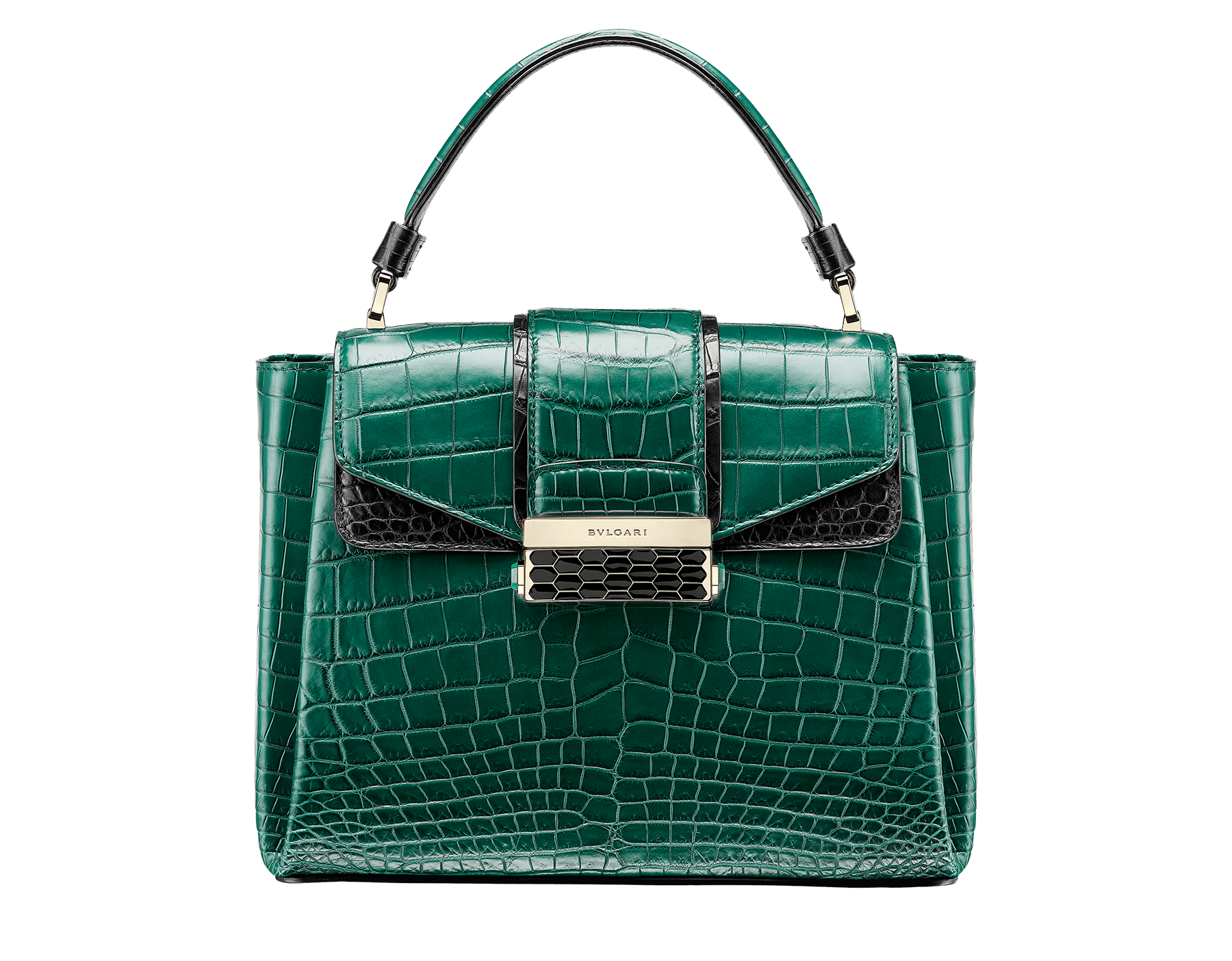 Top handle bag Serpenti Viper in forest emerald and black matt crocodile skin. Brass light gold plated hardware and snap closure in black shiny enamel with iconic Scaglie design. 284488 image 1