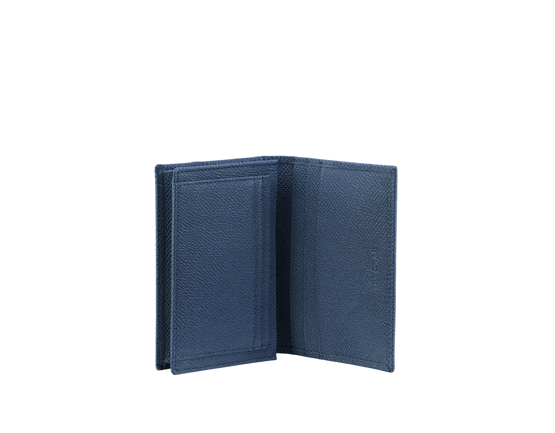Business card holder in denim sapphire grain calf leather with brass palladium plated Bulgari Bulgari motif. Three credit card slots, one open pocket and business cards compartment. BBM-BC-HOLD-SIMPLEa image 2