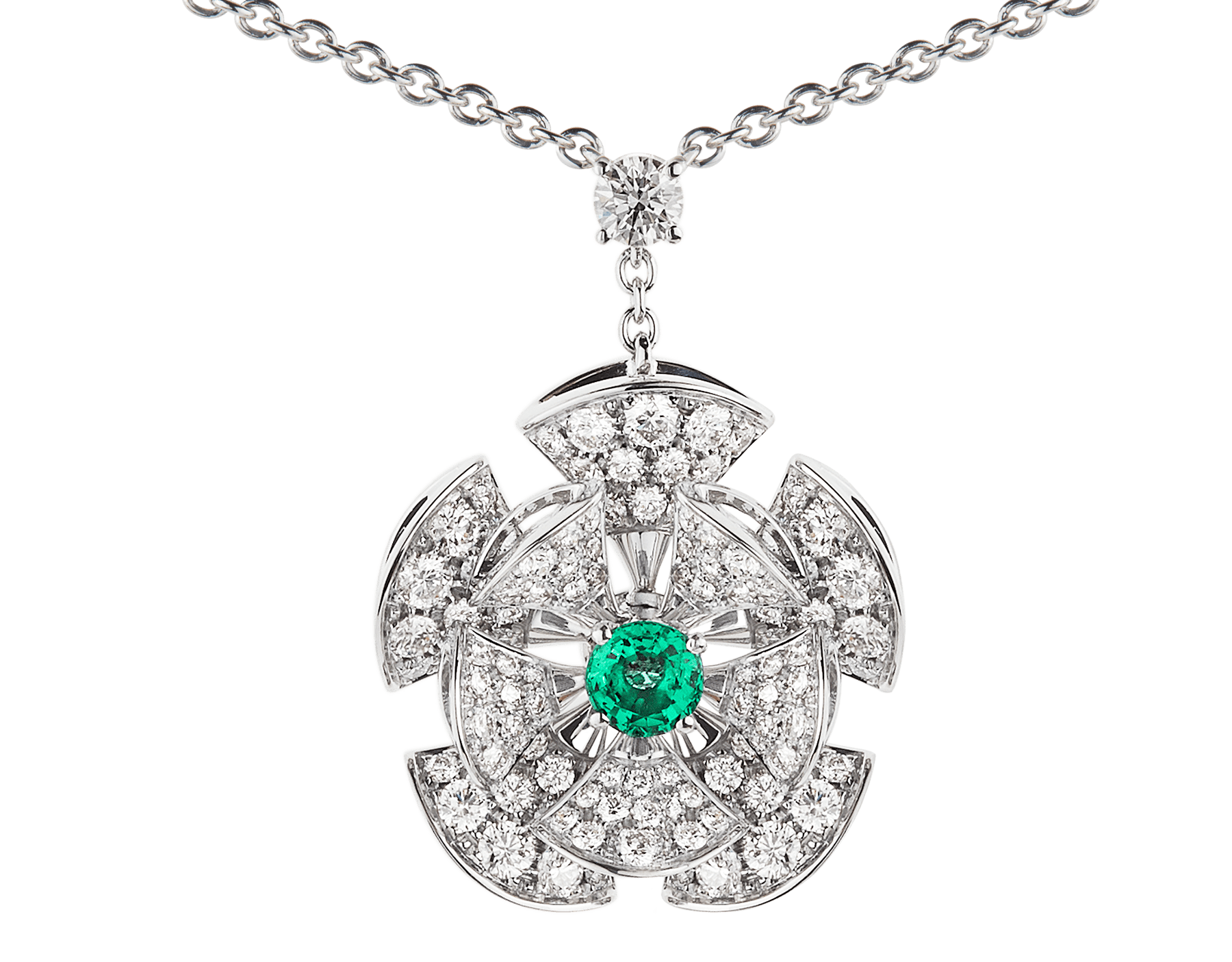 DIVAS' DREAM necklace in 18 kt white gold with chain set with emeralds and a diamond, and a pendant set with a central emerald and pavé diamonds. 352626 image 3
