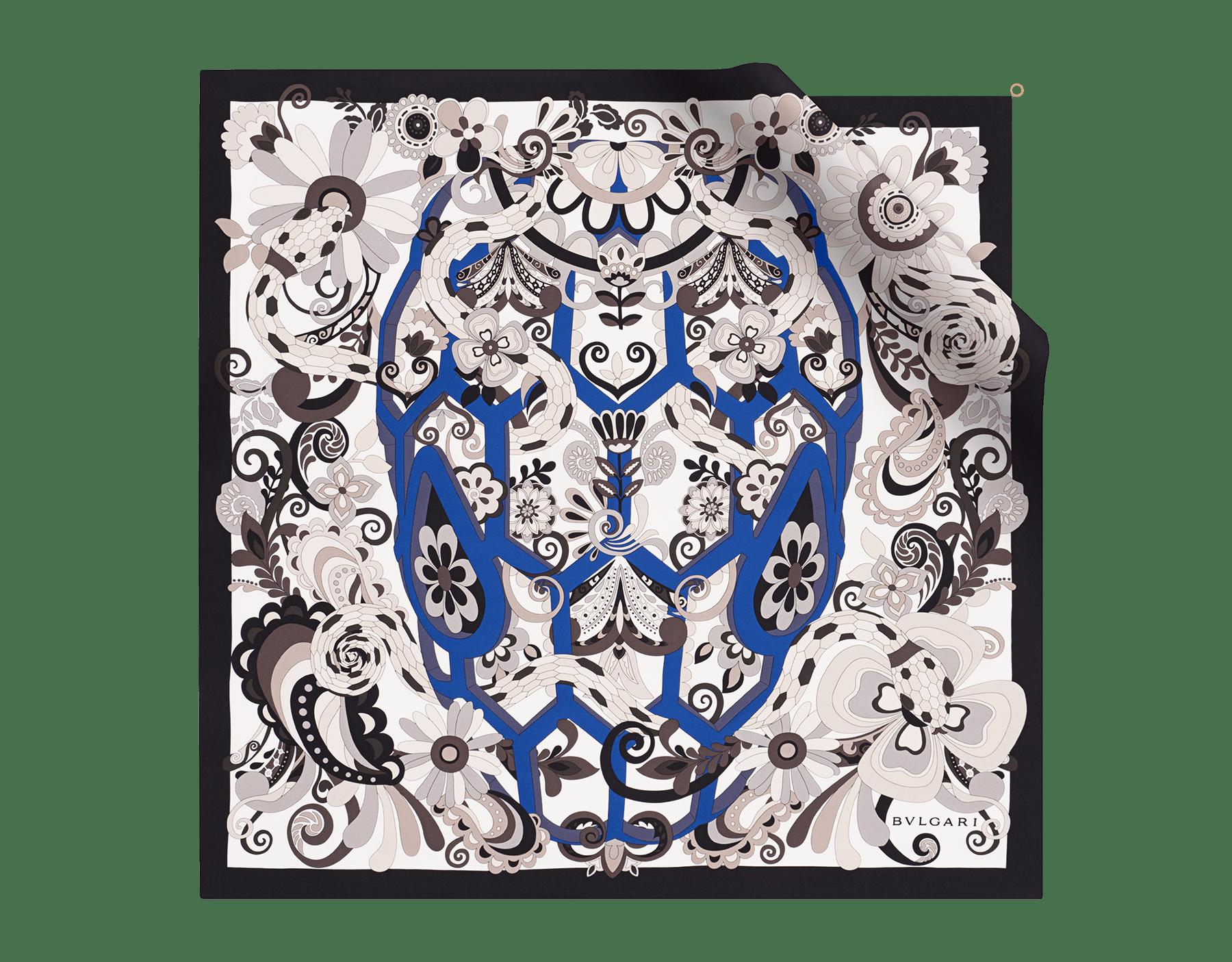 Foulard Serpenti Love Yard noir et bleu en twill de soie fin. 242962 image 1