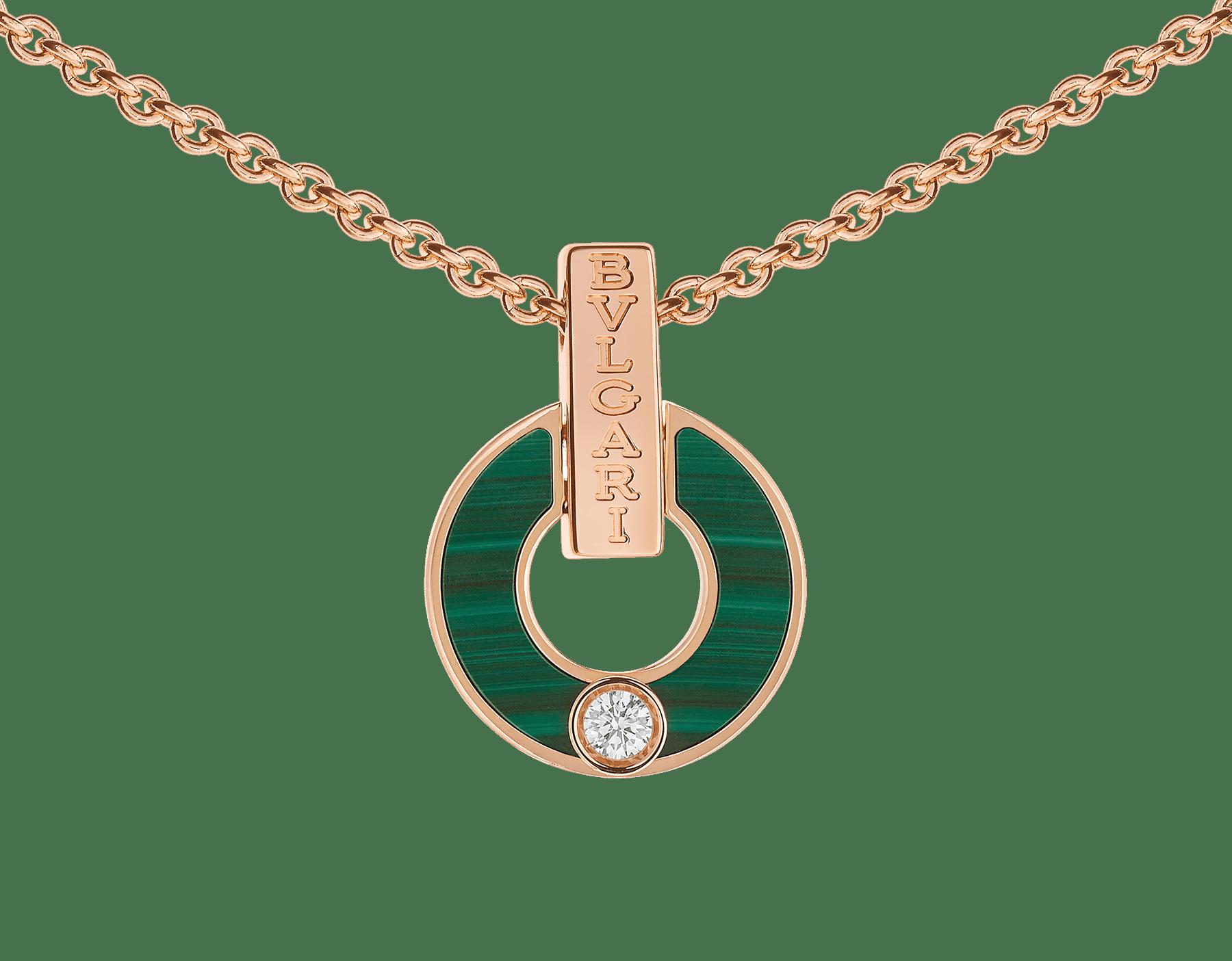 Skelettierte BVLGARI BVLGARI Halskette aus 18 Karat Roségold mit Malachit-Elementen und einem runden Diamanten im Brillantschliff 357313 image 3