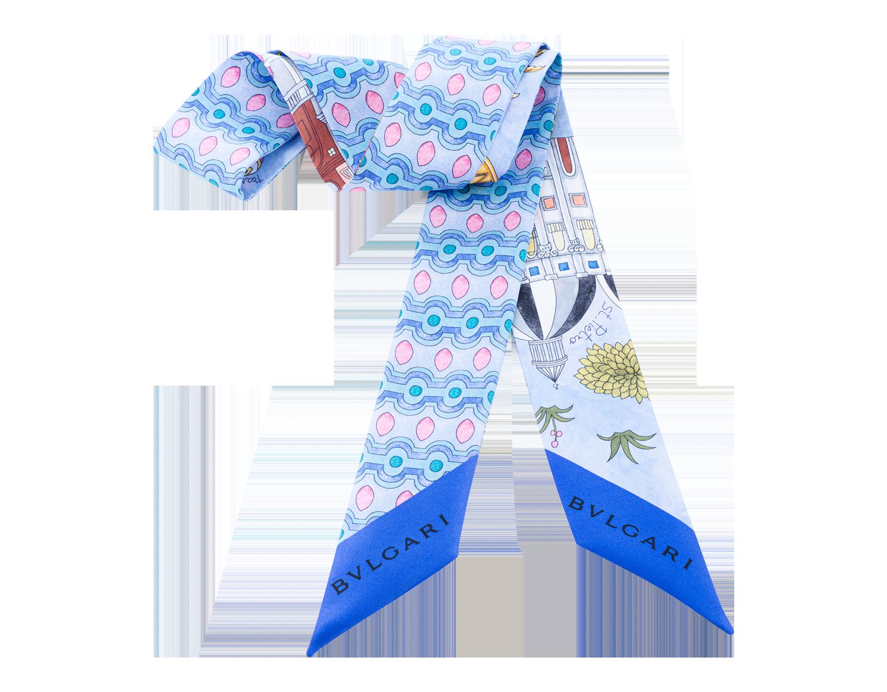 淺藍色 CITTA ETERNA 上等斜紋絲領巾。 CITTAETERNASHELb image 1