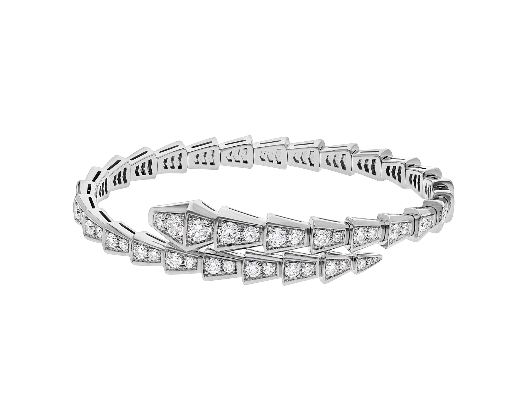Serpenti one-coil slim bracelet in 18 kt white gold, set with full pavé diamonds. BR857492 image 2